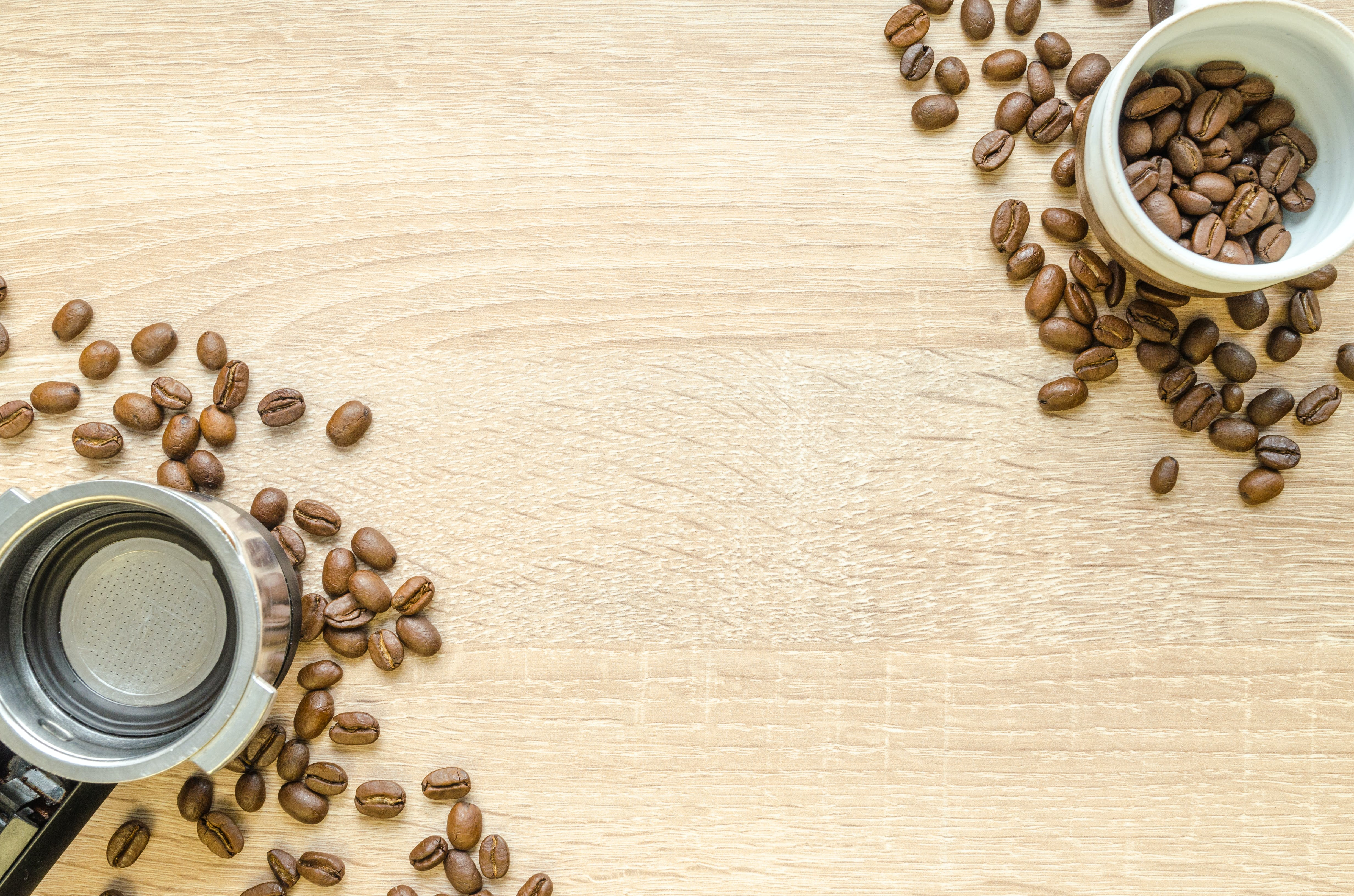 Brown Coffee Beans on White Plastic Container