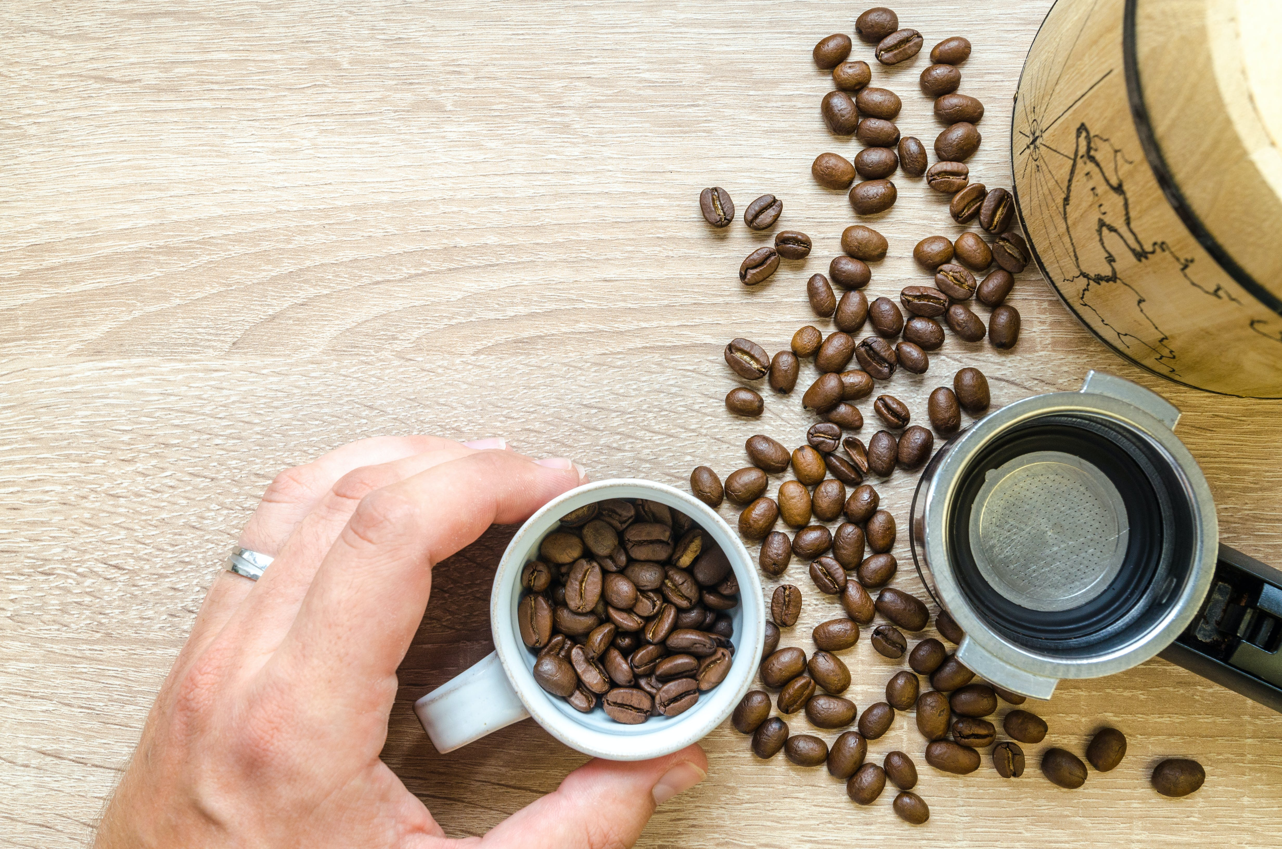 Person Holding Mug Filled With Coffee Beans