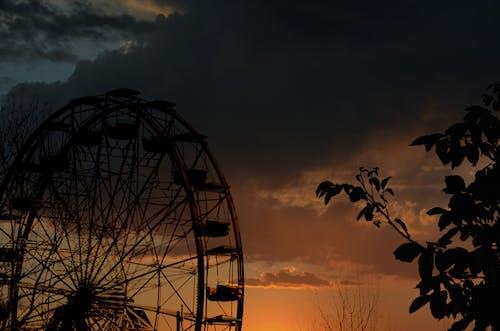 Free stock photo of funfair, sky, sunset, tree