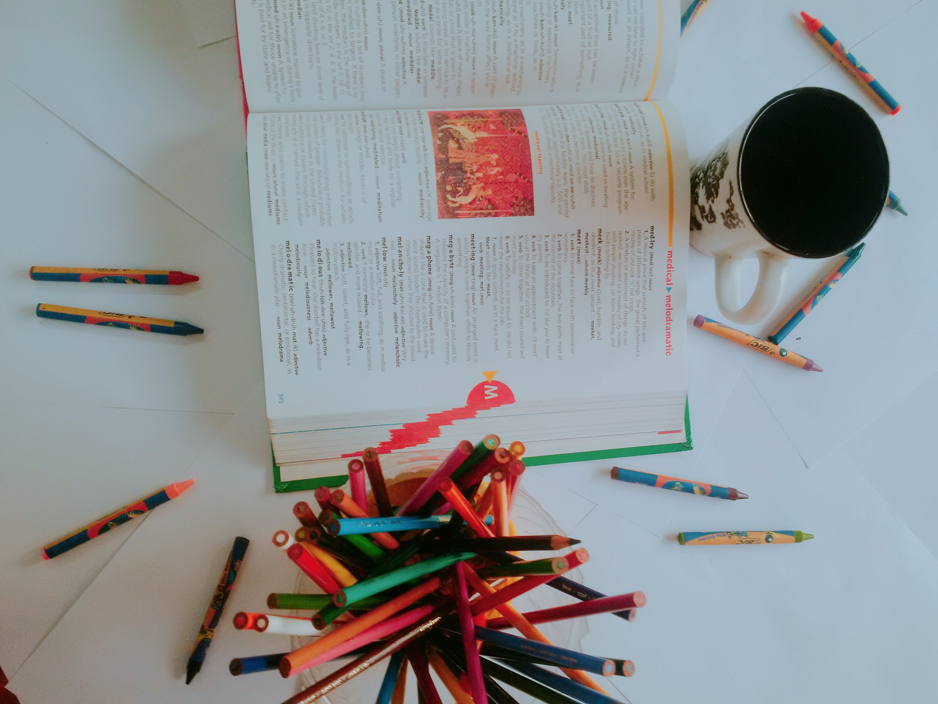 Free stock photo of coffee cup, crayons, school