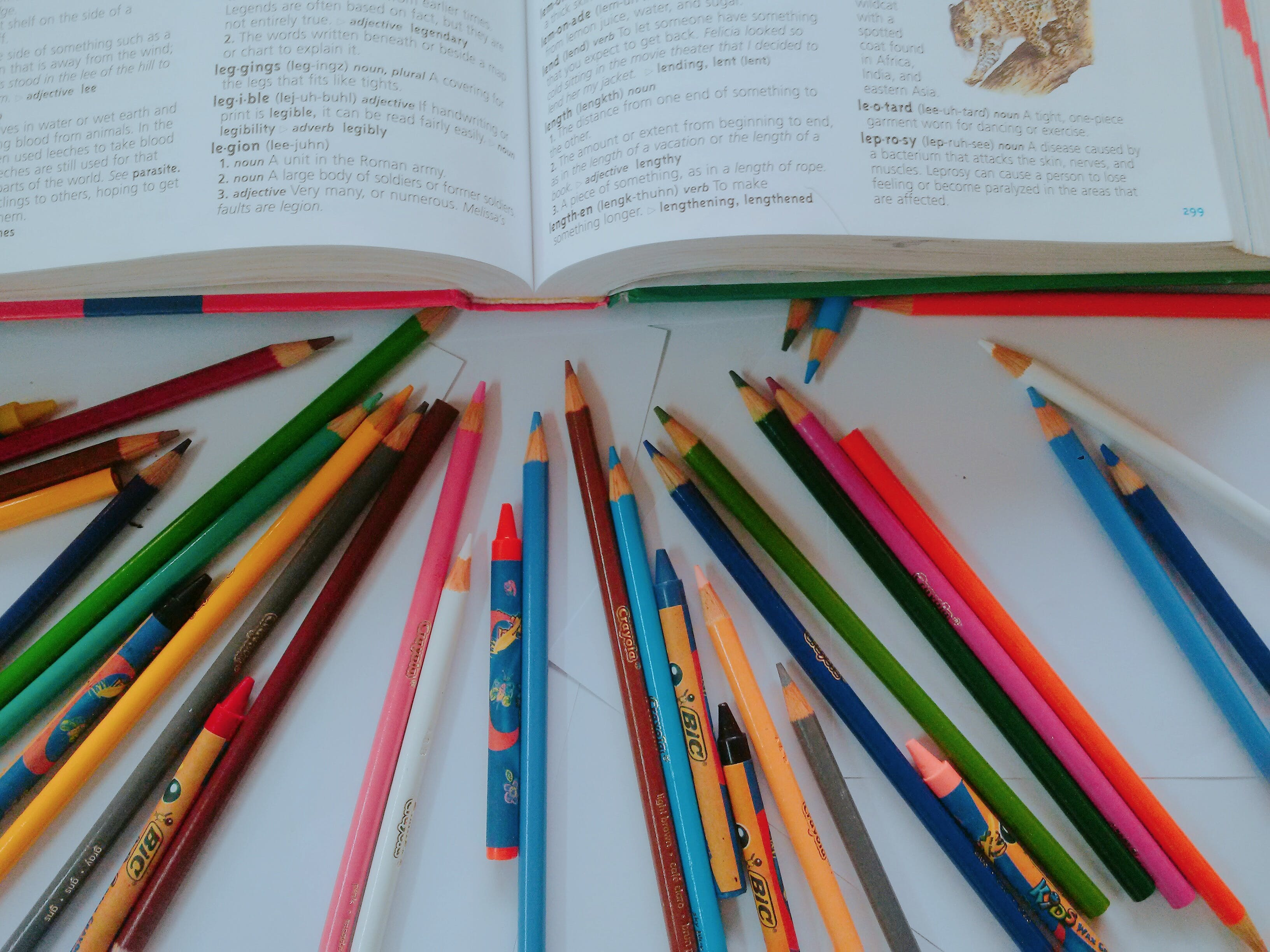 Free stock photo of book with crayons, crayons