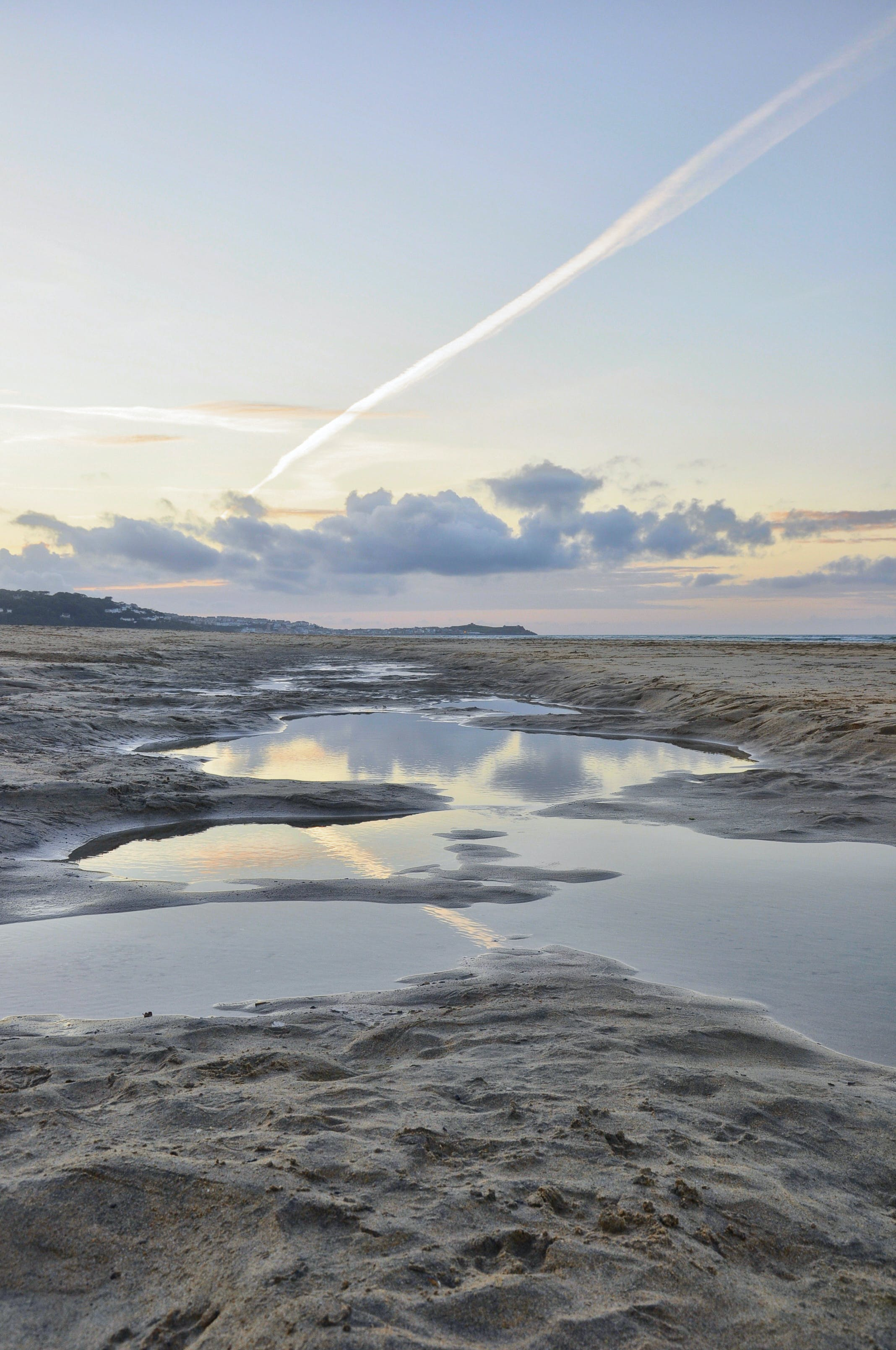 Free stock photo of alone, clouds, reflection, sand