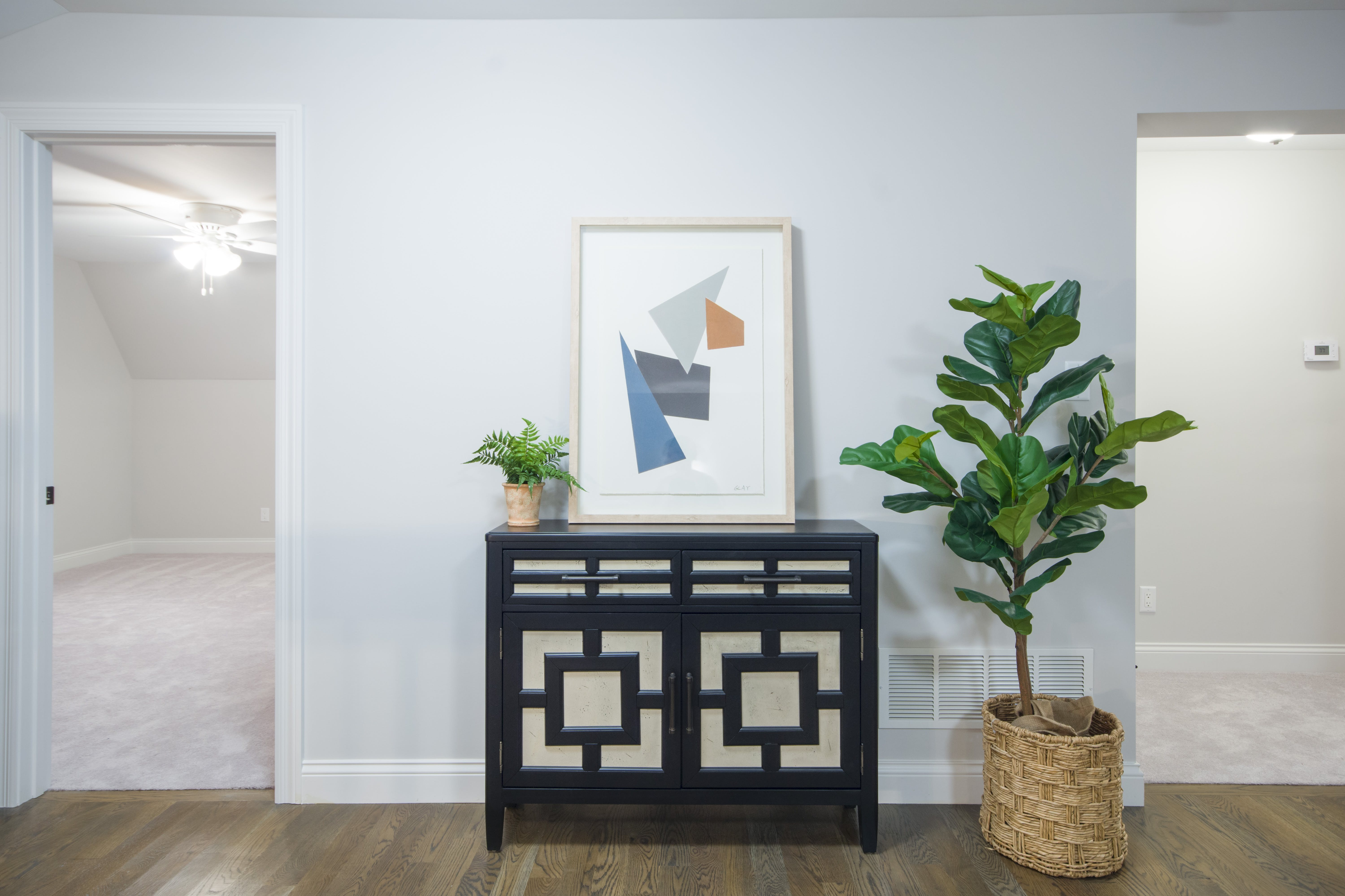Brown and White Wooden Cabinet Near Green Leafed Plant