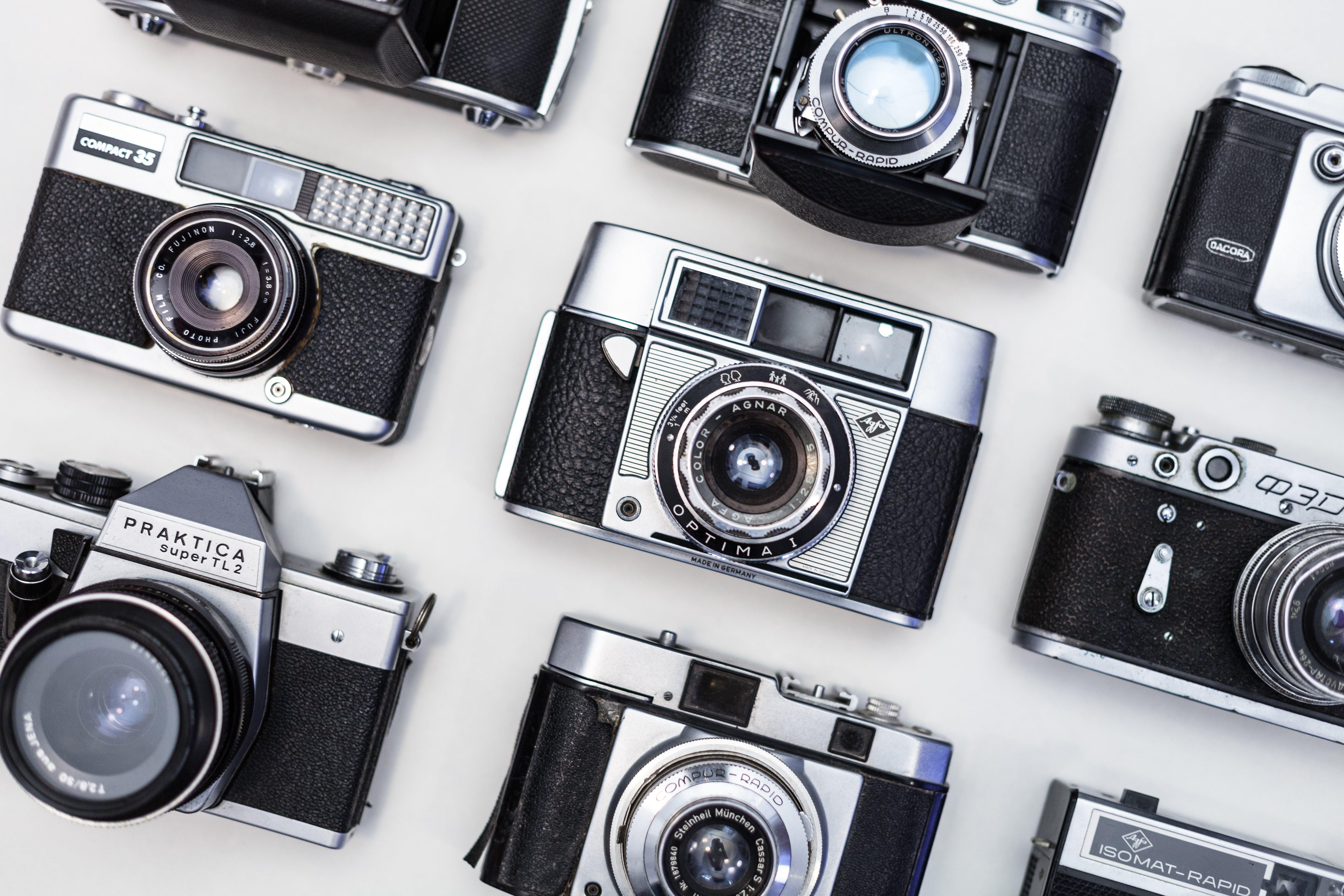 Nine Gray-and-black Land Cameras