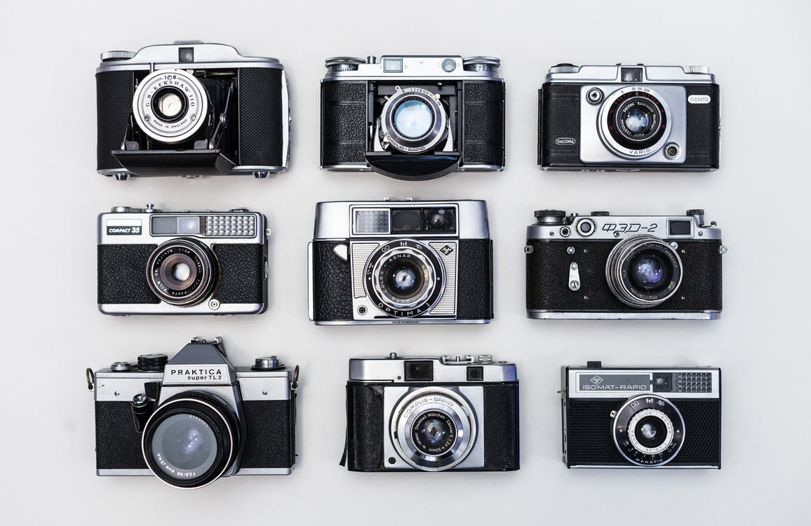 Nine Black-and-gray Cameras