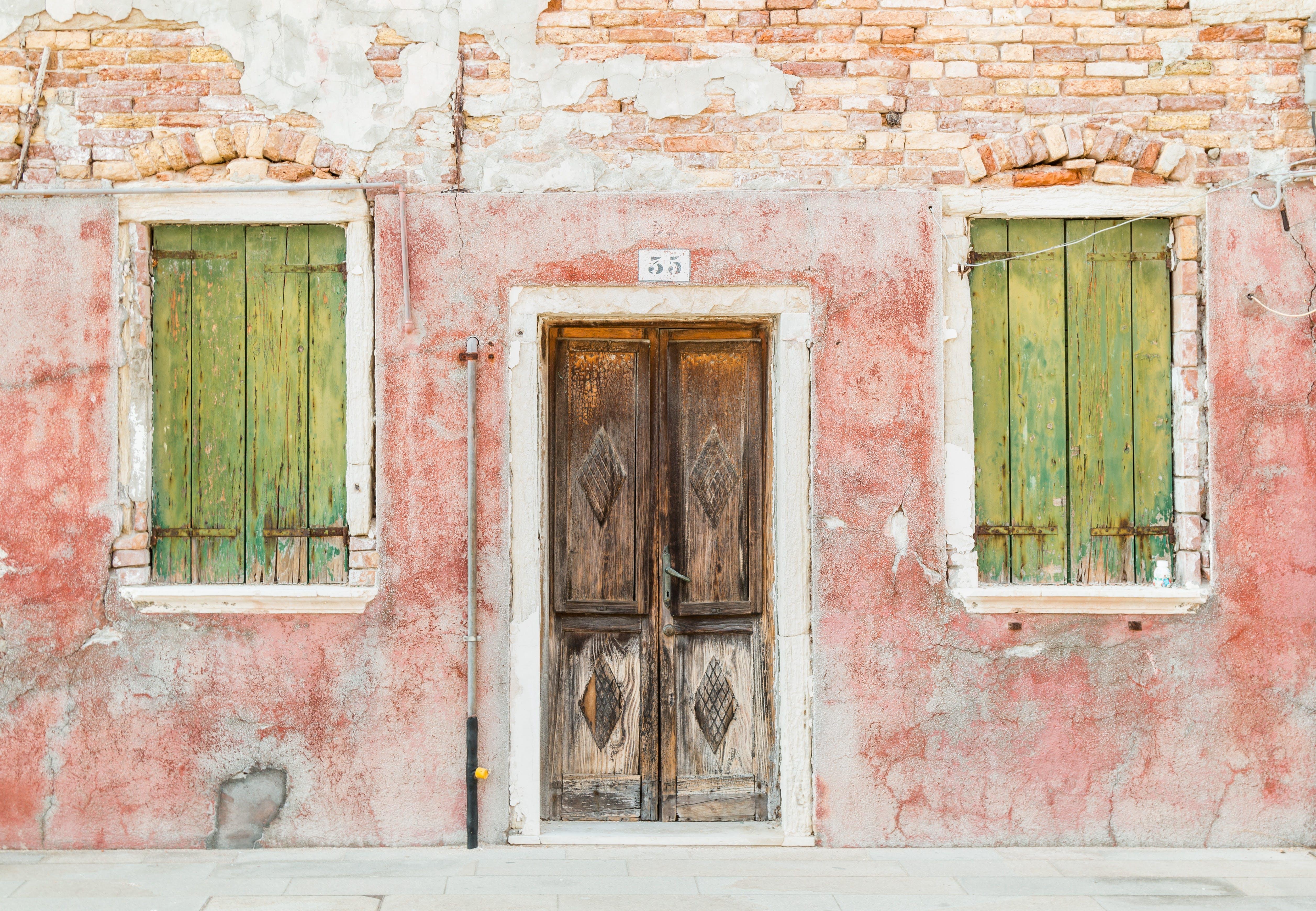 Closed Brown Wooden Door and Window