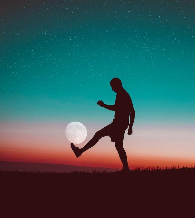 закат, звезды, луна