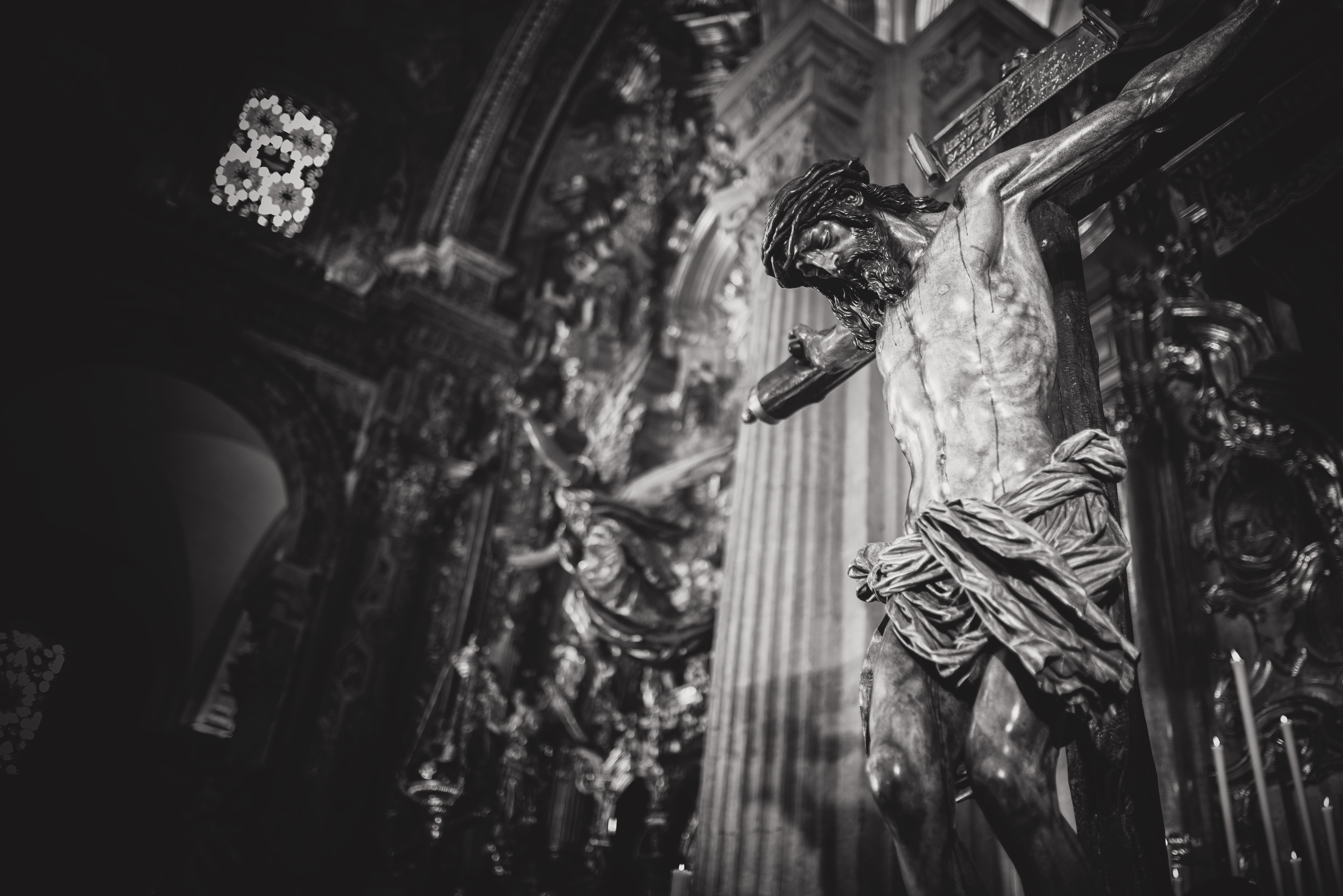 Monochrome Photo of Crucifix