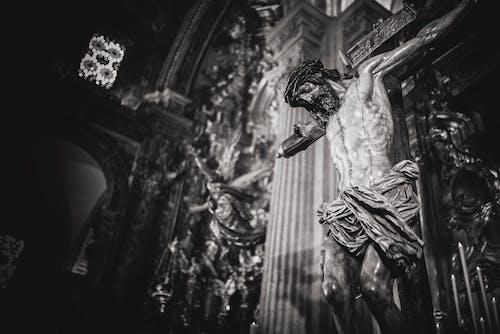 Monochrome Photo of Crucifix