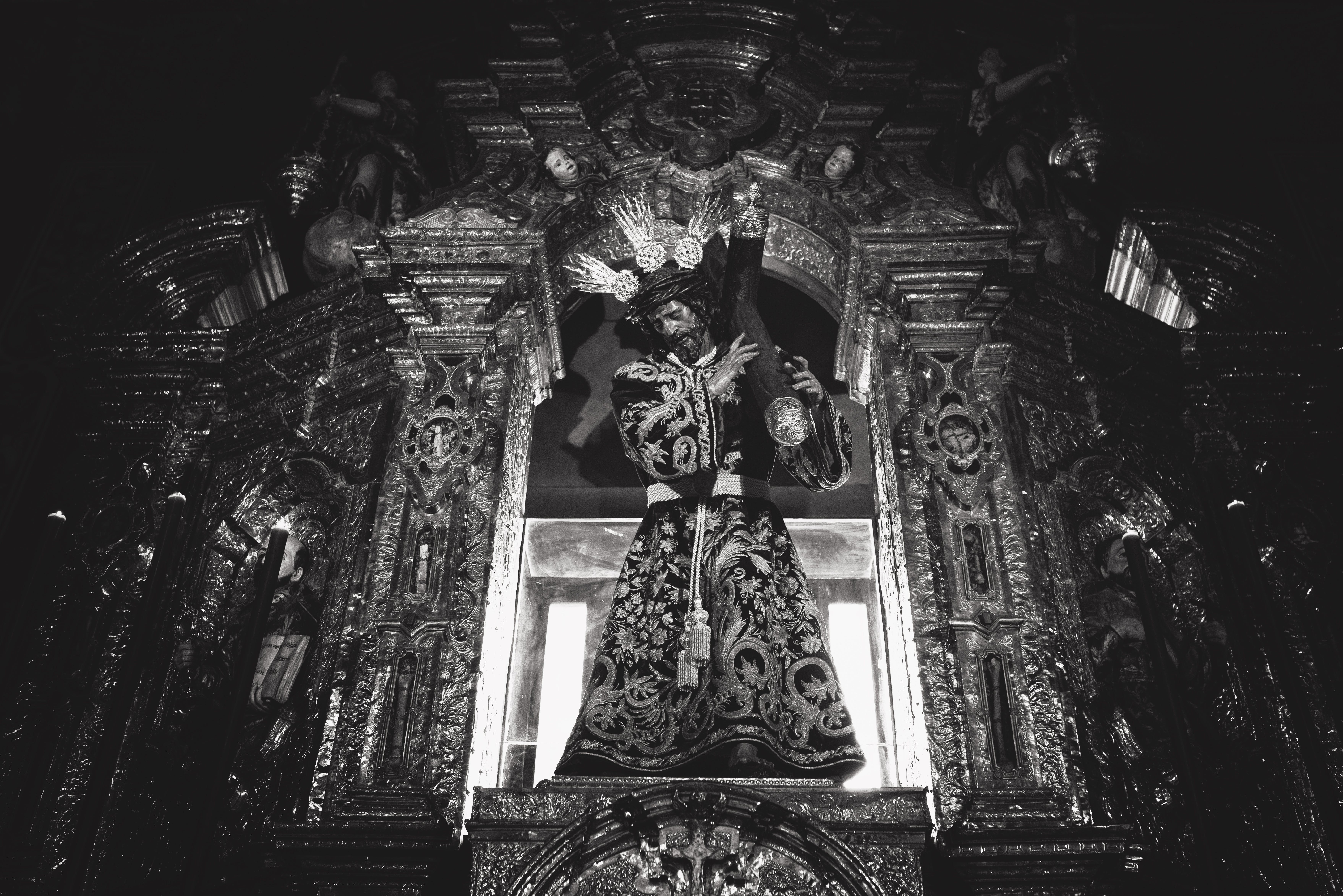 Grayscale Photography of Jesus Christ Statue