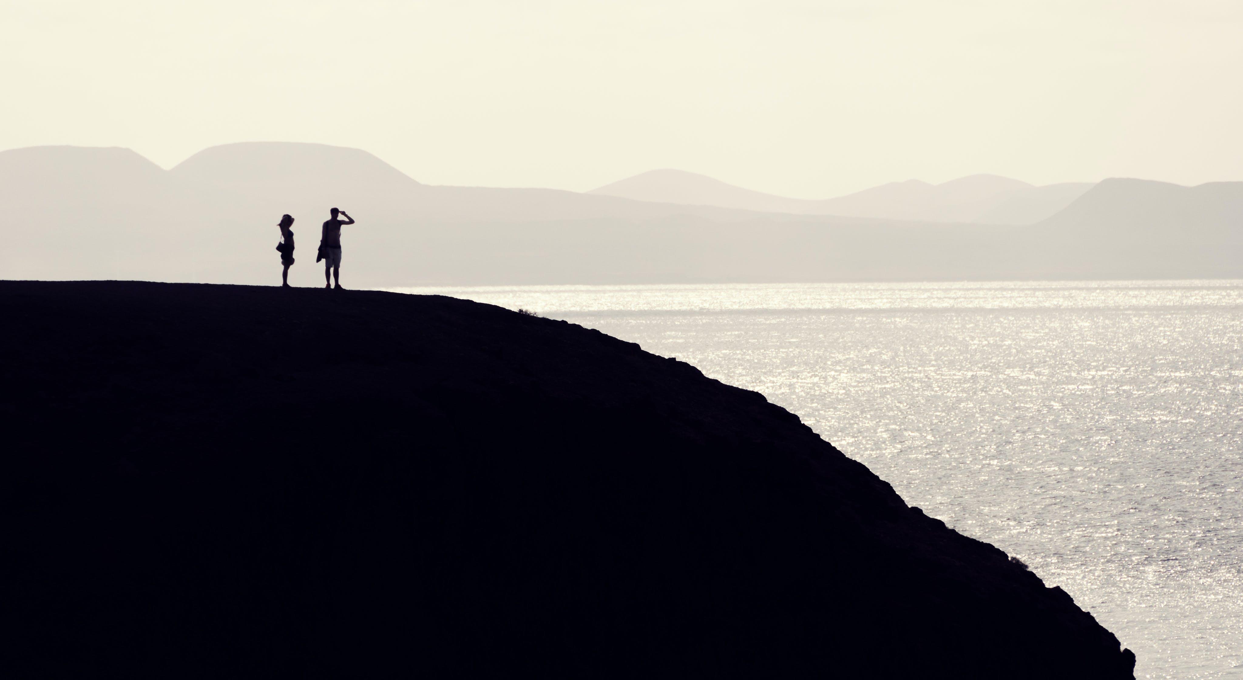 Free stock photo of coast, couple, hill, people