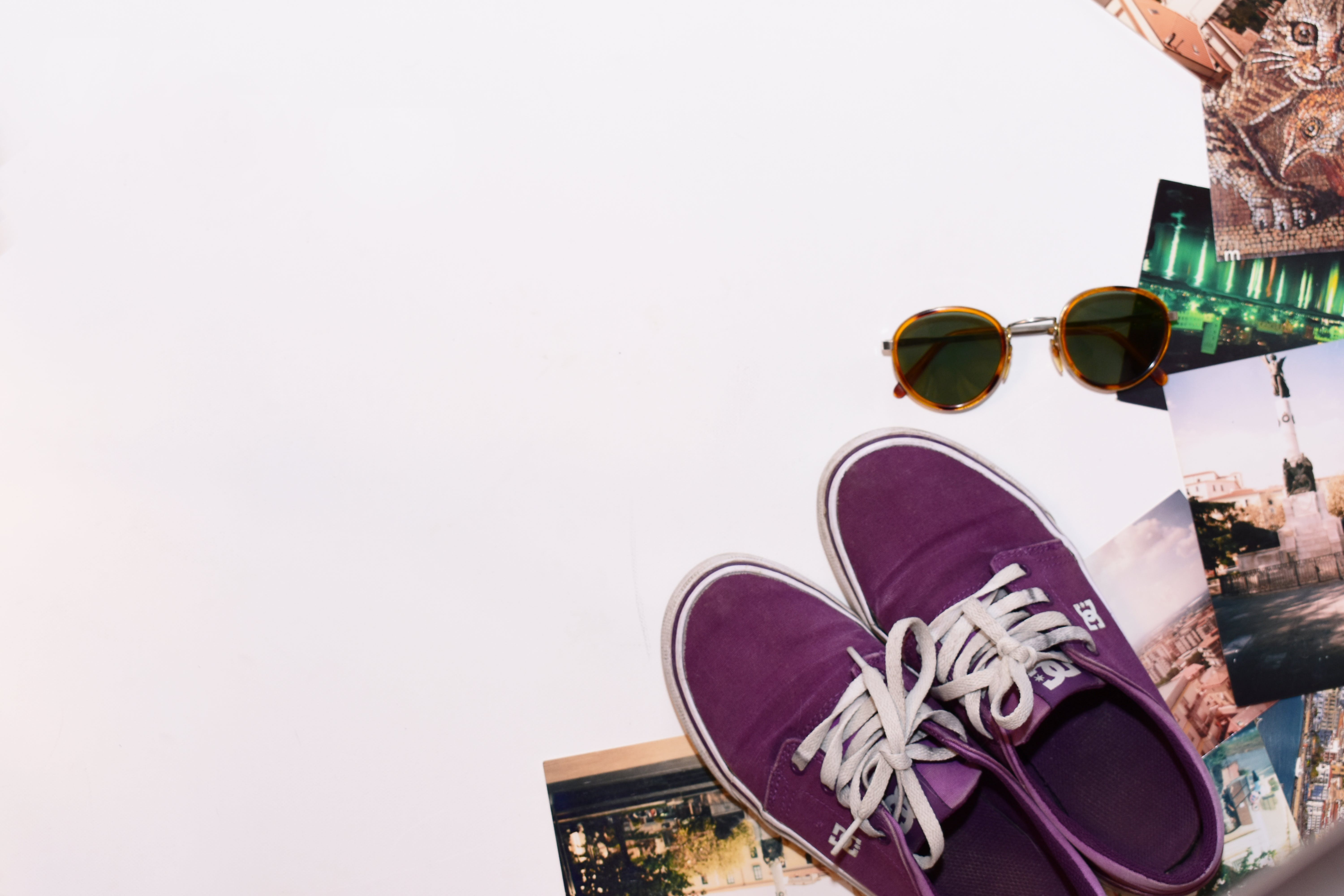 Pair of Purple Dc Shoes Low-top Sneakers
