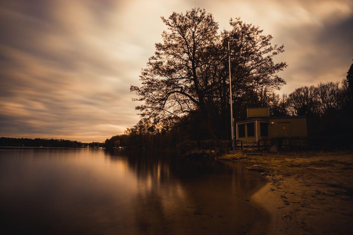 відображення, дзеркальне озеро, Захід сонця