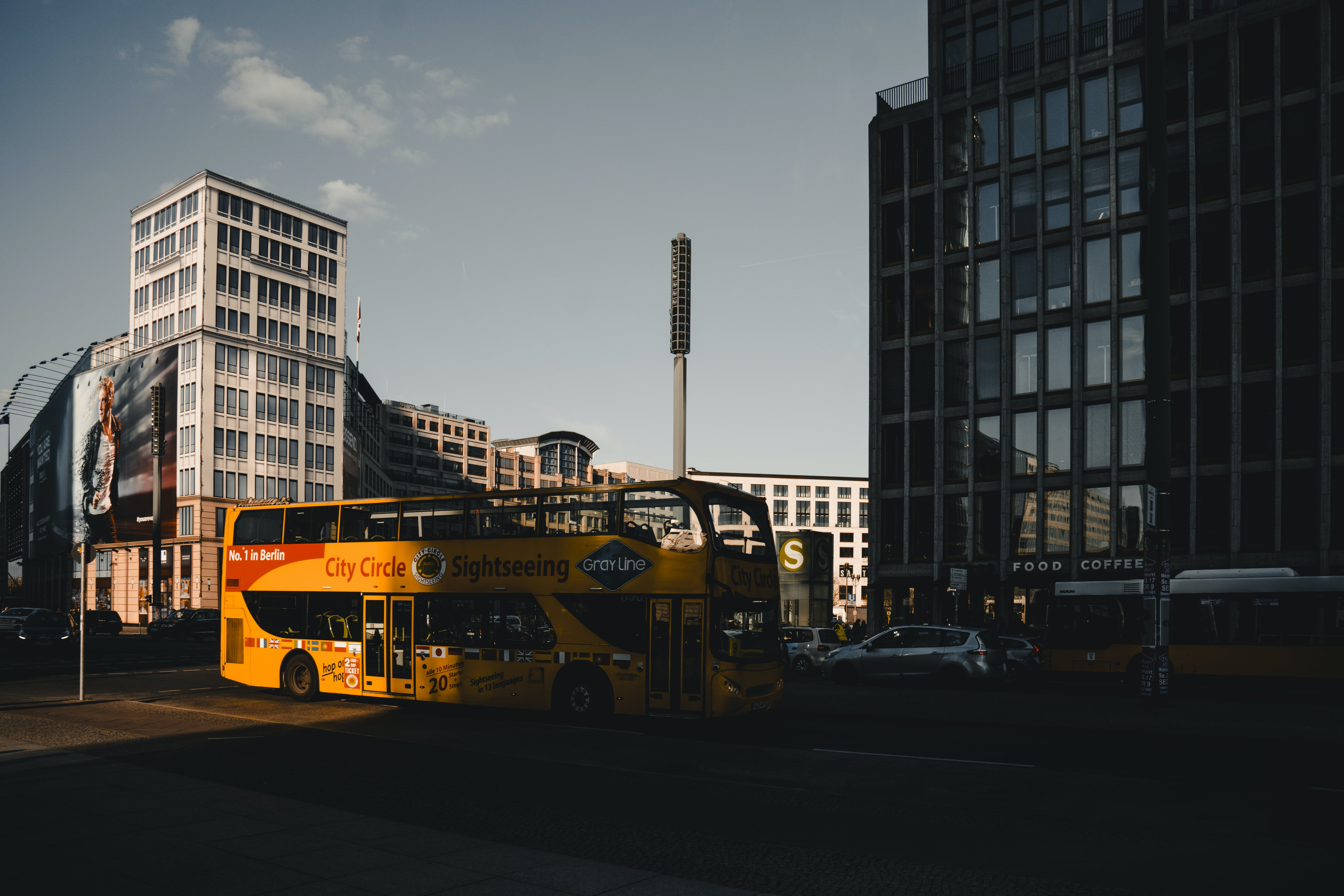 Yellow Bus Parked Near Building