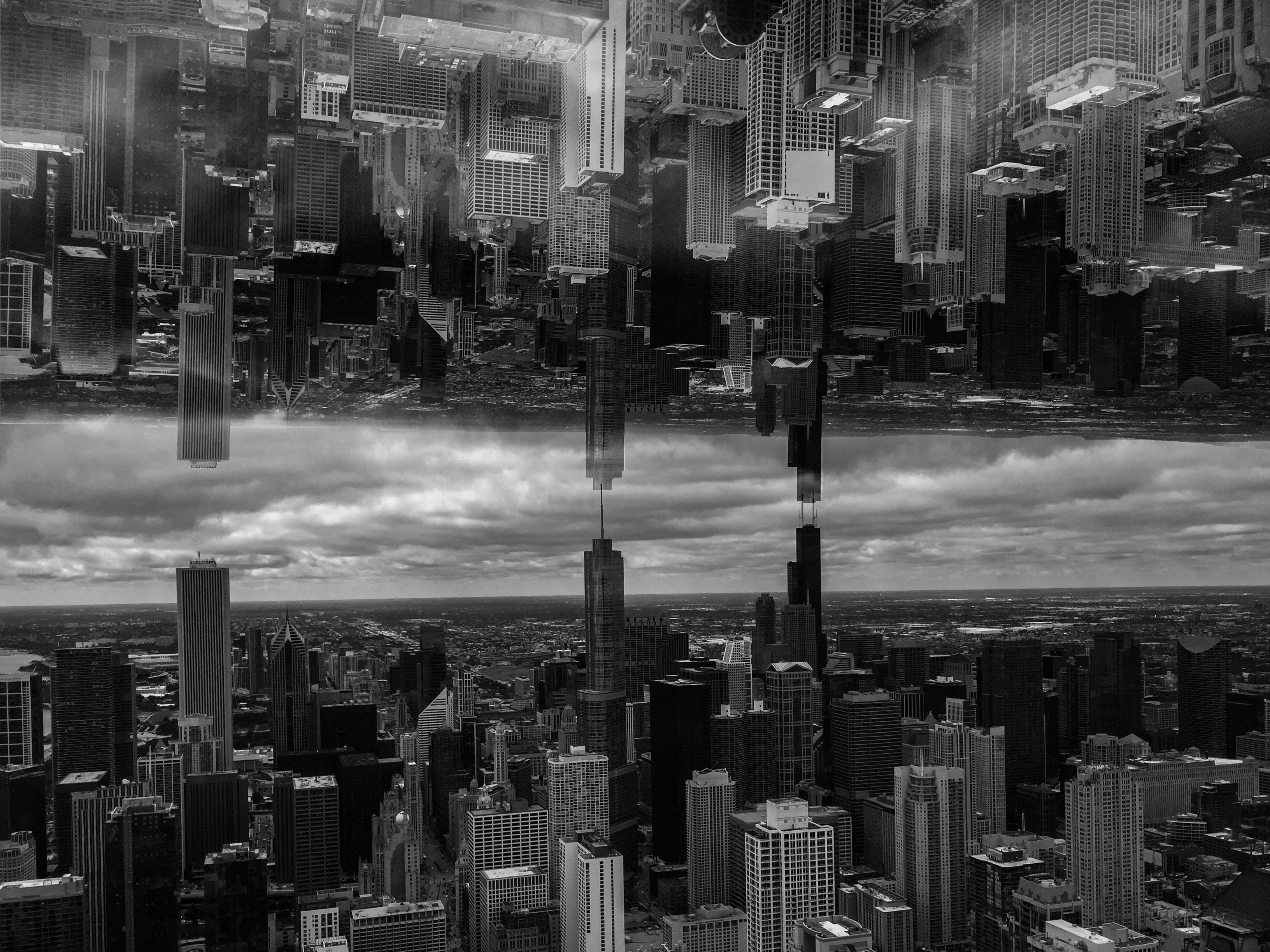Free stock photo of black and white, blue sky, chicago, skyscraper