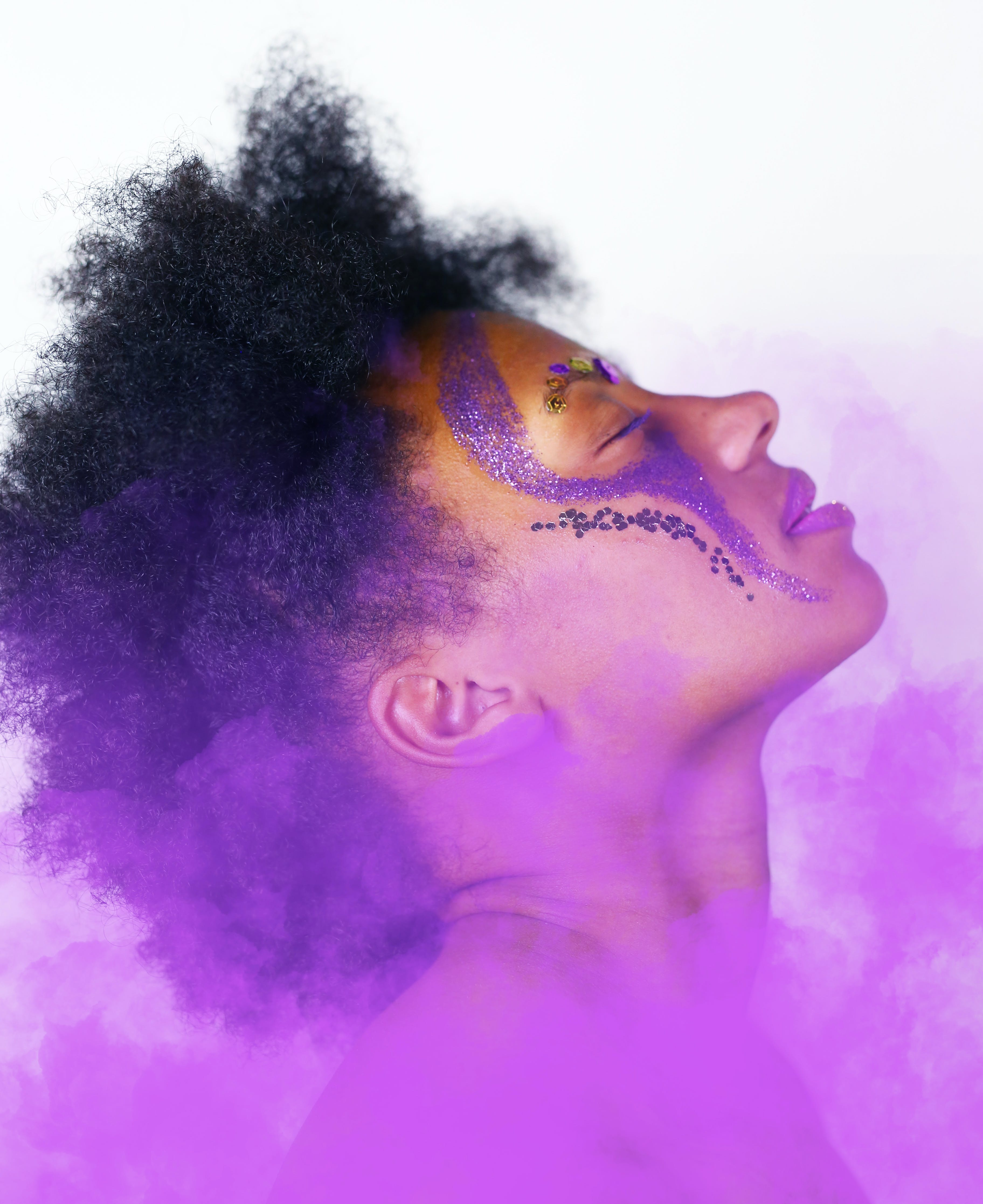 Woman With Purple Face Paint