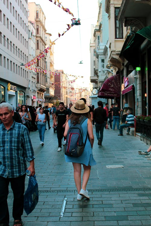 People Walking on Street Near Buildings