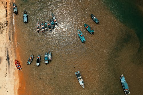 Top View of Boats on Body of Water