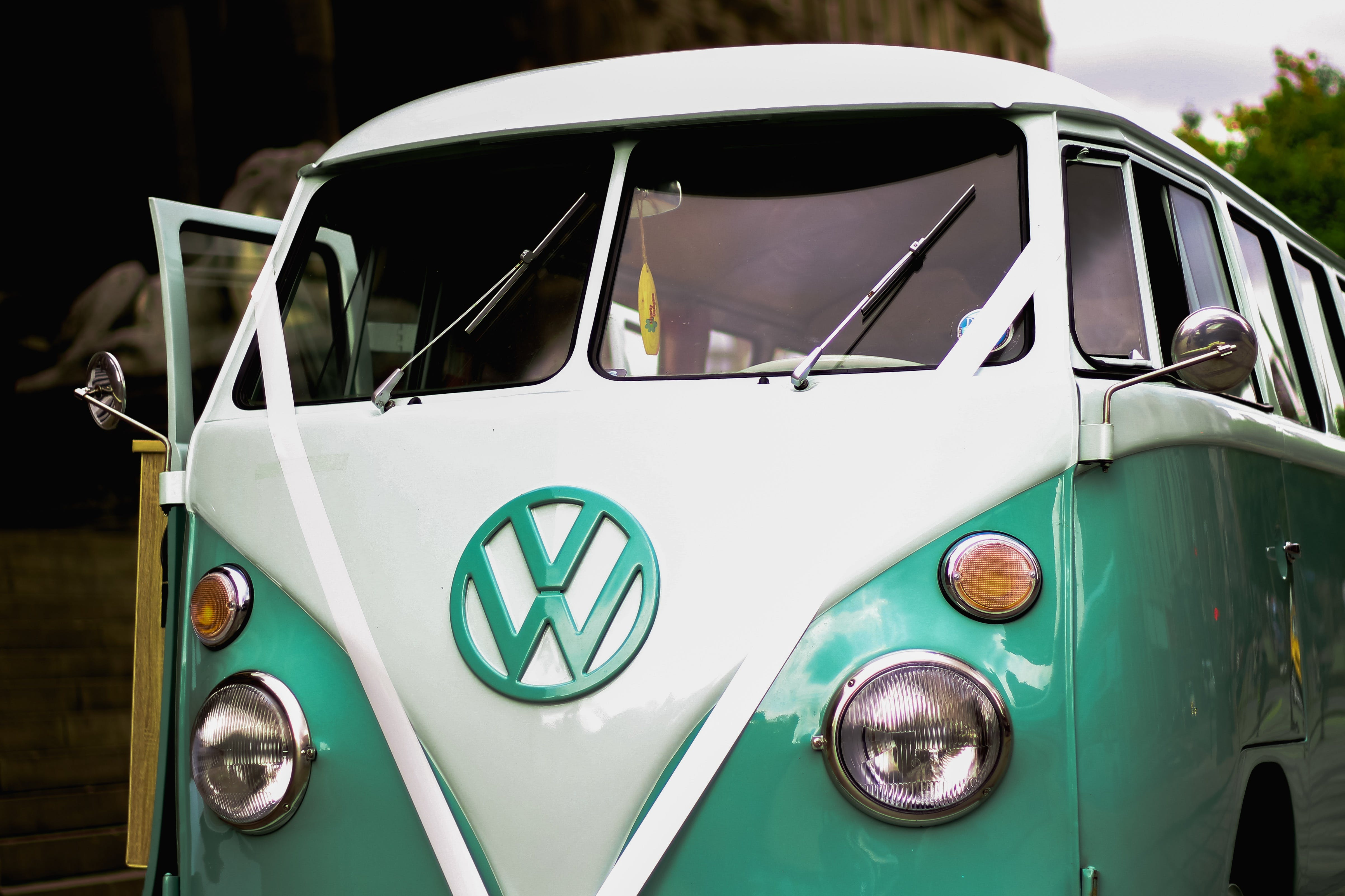 Green and White Volkswagen T1