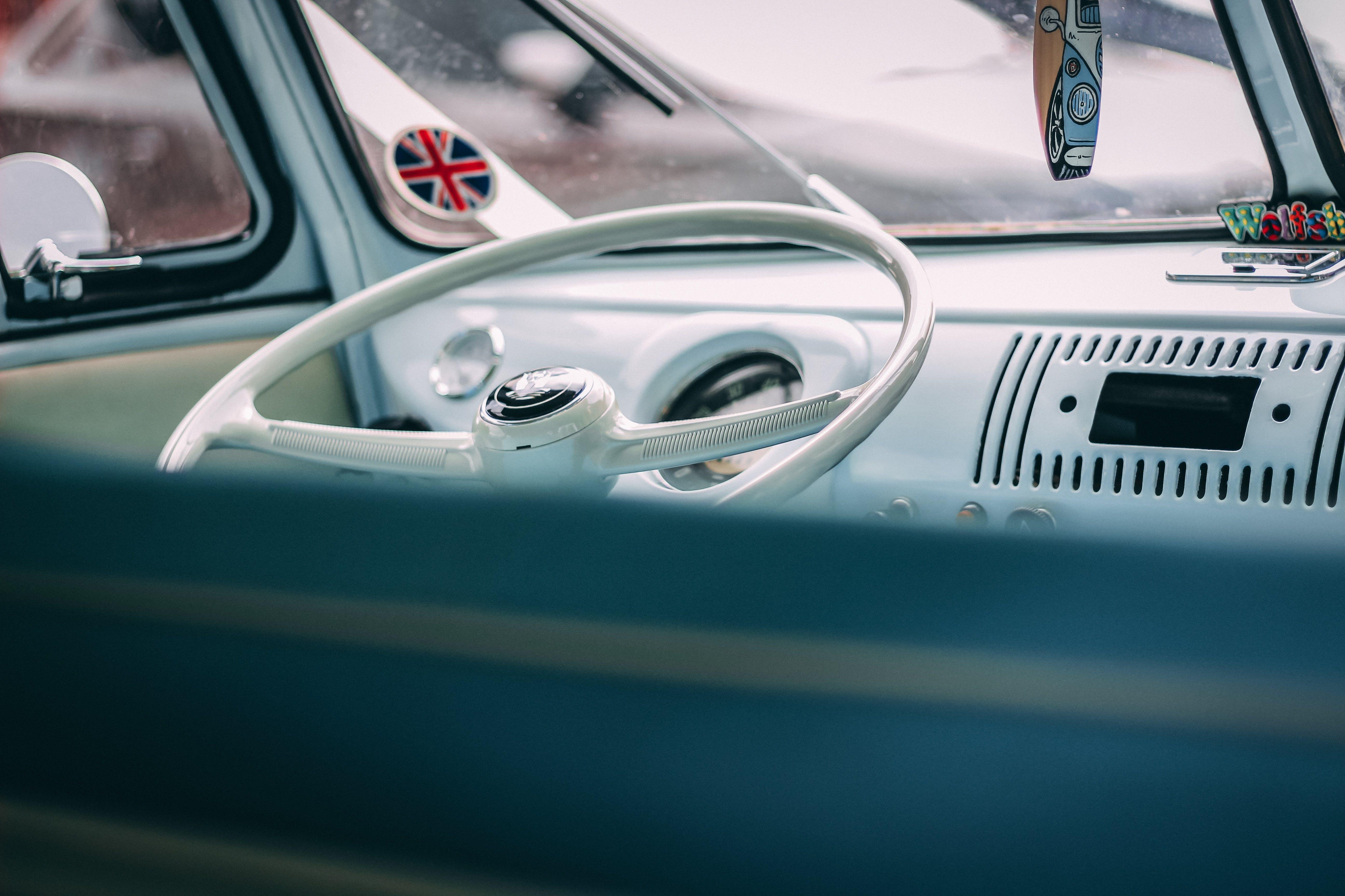 Classic White Vehicle Steering Wheel