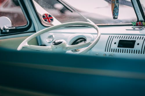 Classic White Vehicle Steering Wheel