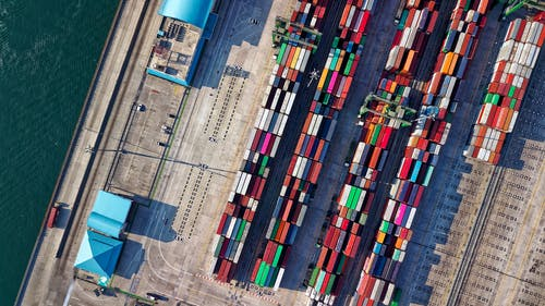 Aerial View Photography of Container Van Lot