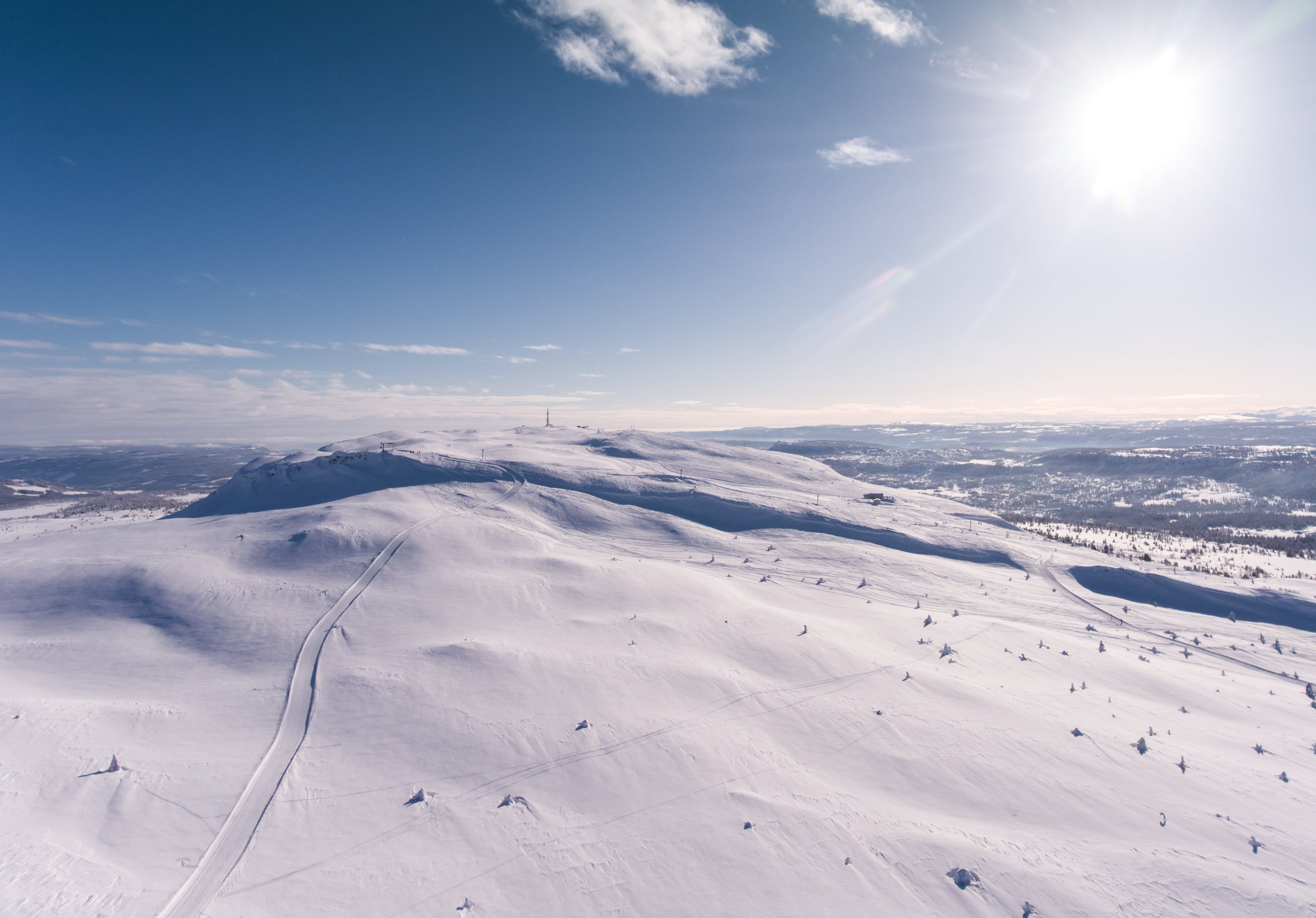 Aerial Photography Of Snowy Hill