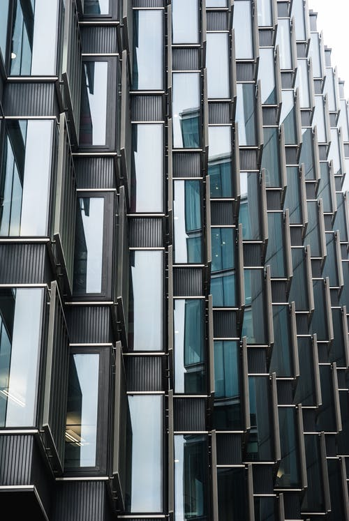 bakış açısı, biçim, bina, cam pencereler içeren Ücretsiz stok fotoğraf