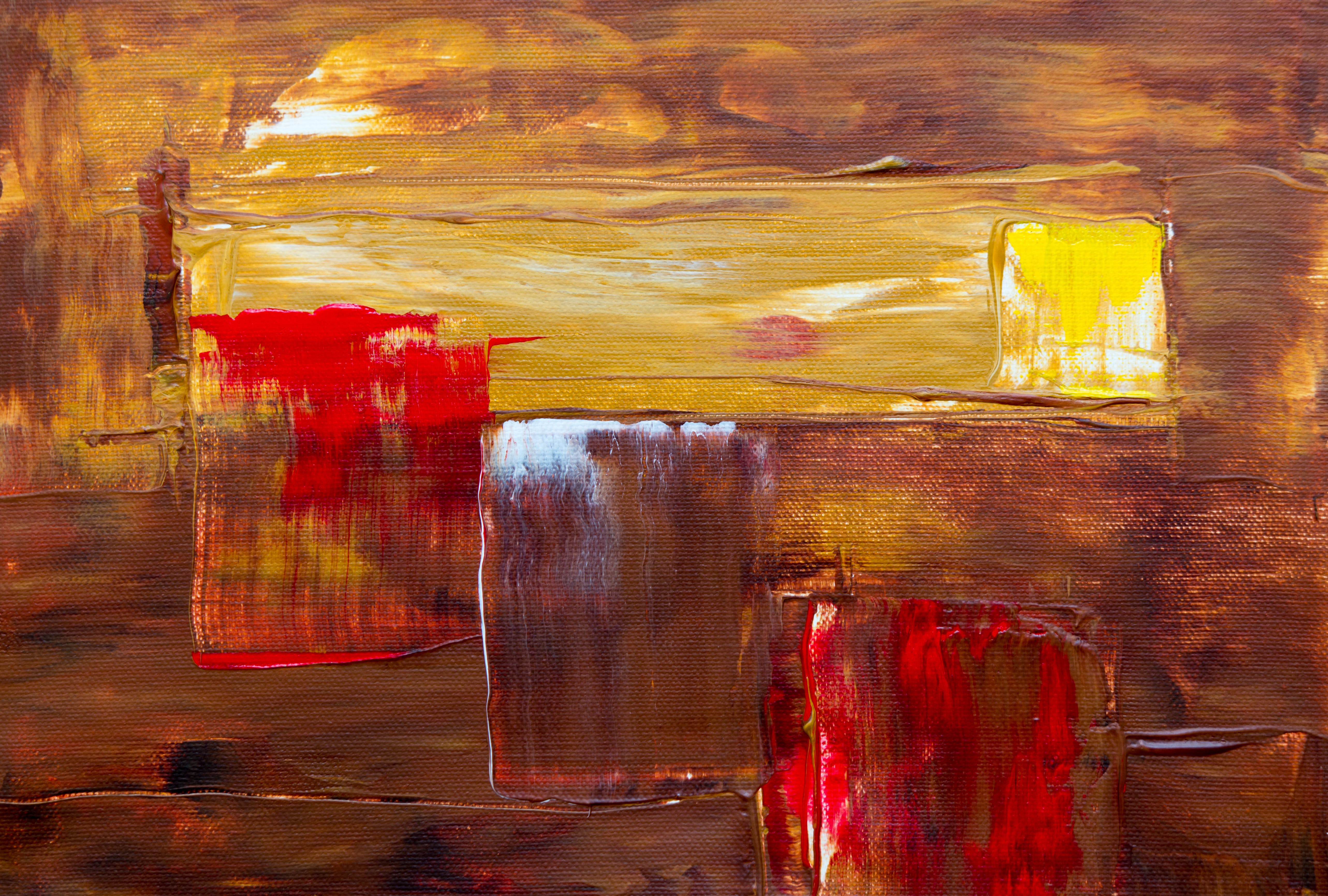 Yellow, Red, And Brown Abstract Painting