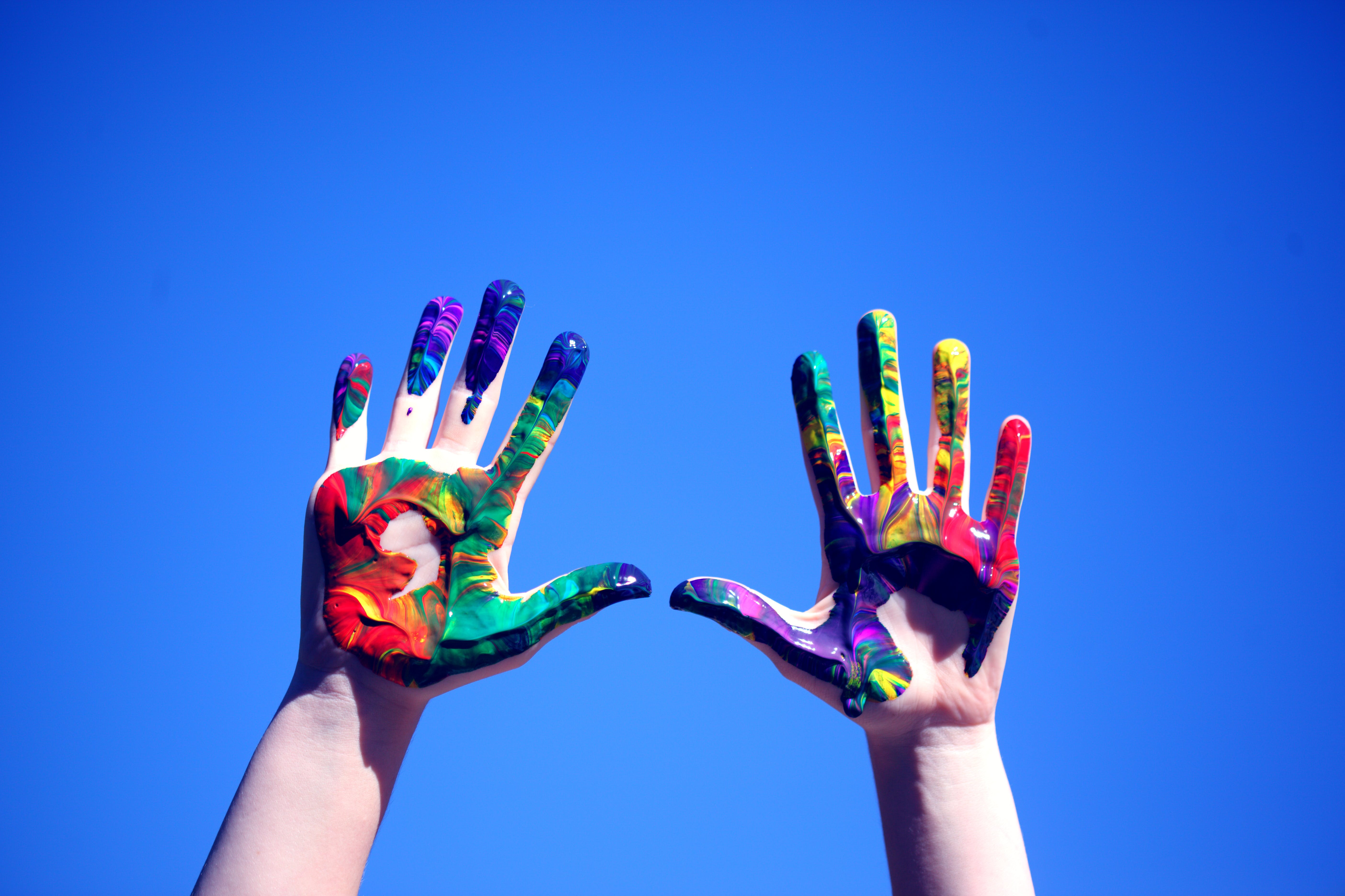 Person's Hands With Paint
