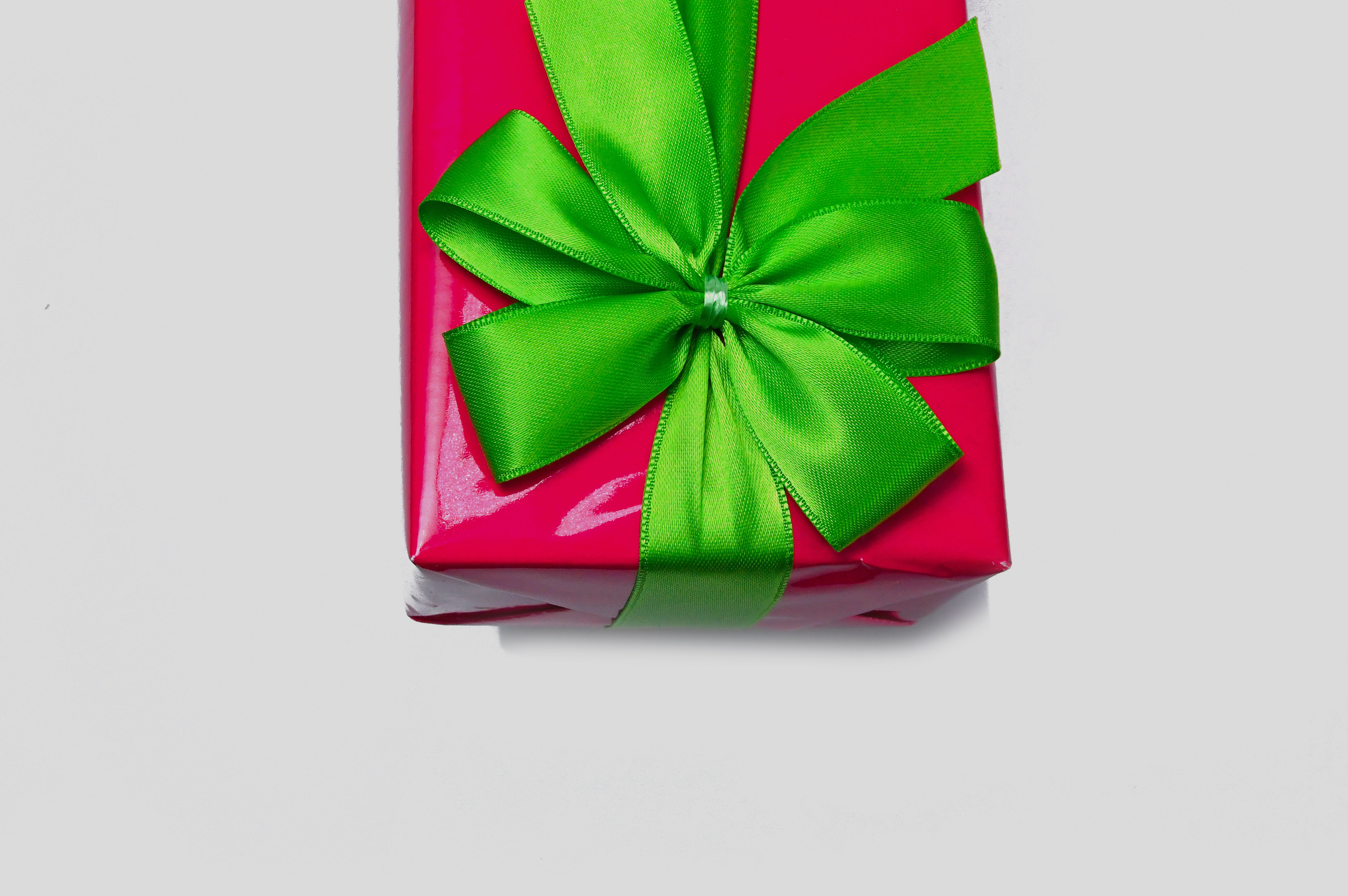 Gift Box Covered With Green Bow