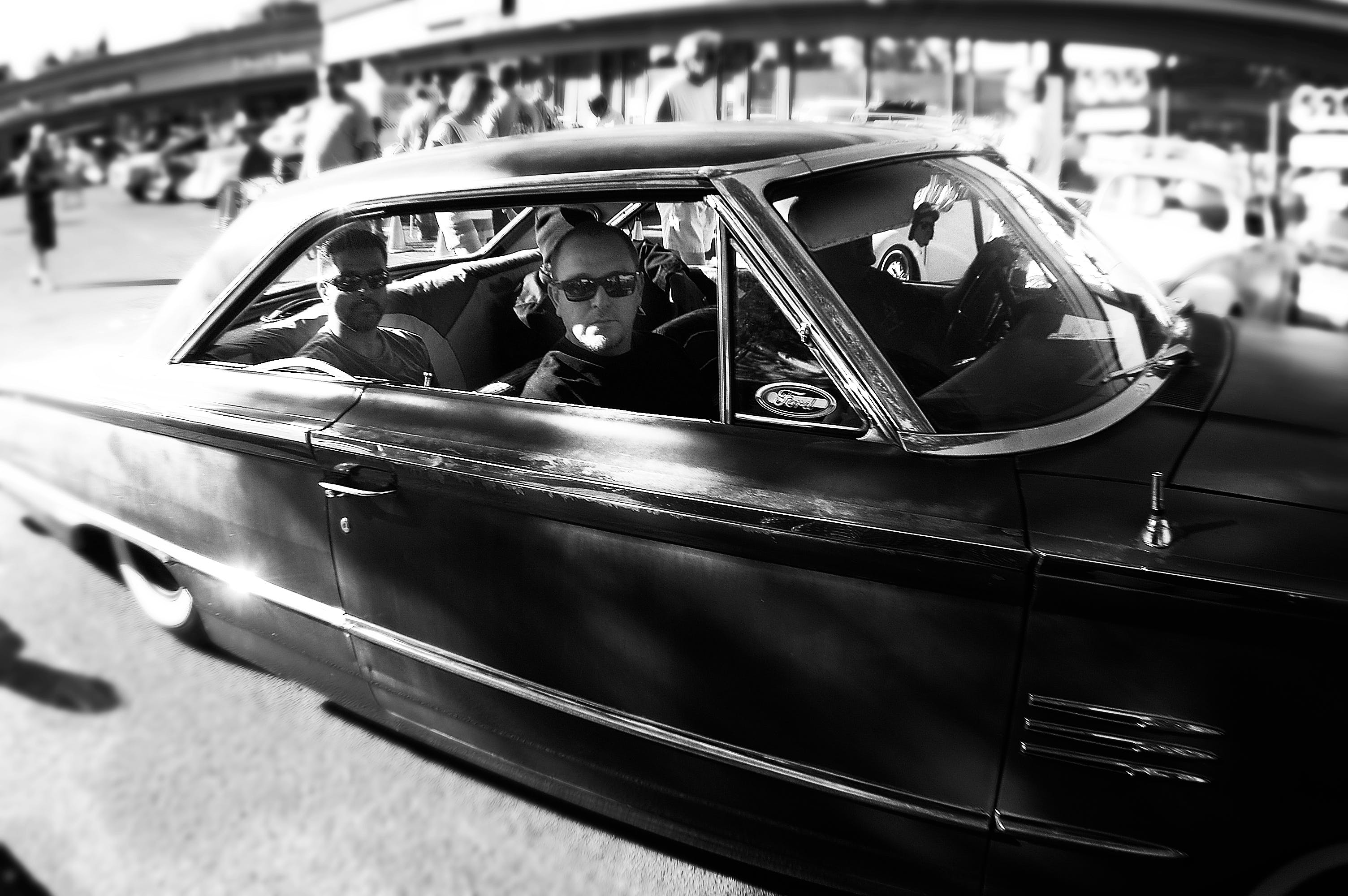 Free stock photo of black-and-white, car, car show, cruise