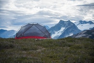 mountains, camping, tent