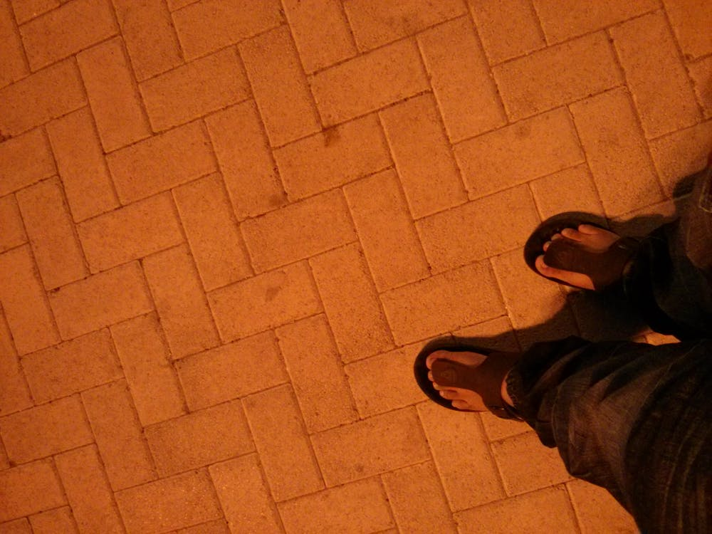 Free stock photo of bricks, floor, sandals