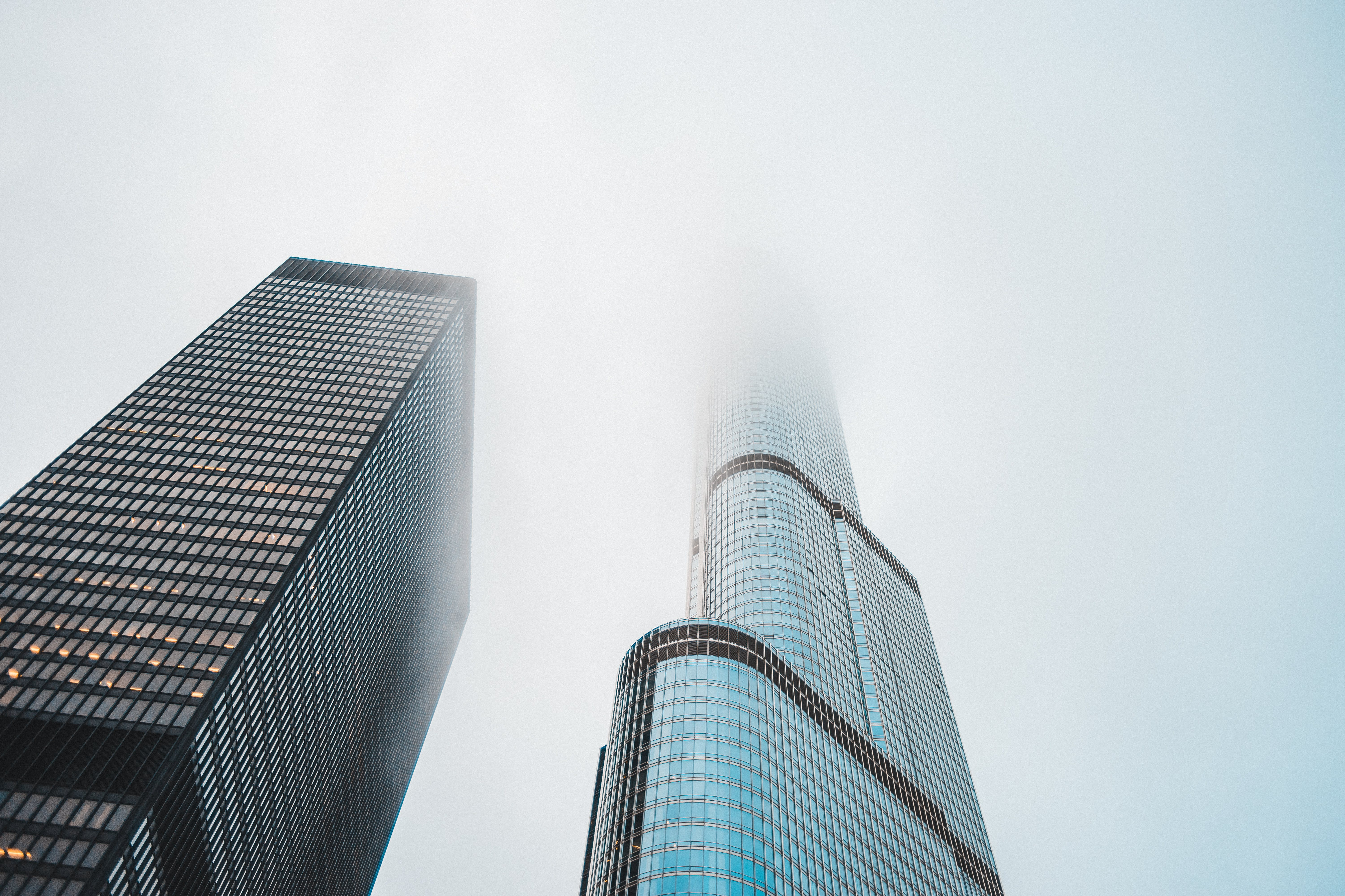 Worm's Eye View of Two Skyscrapers during Day