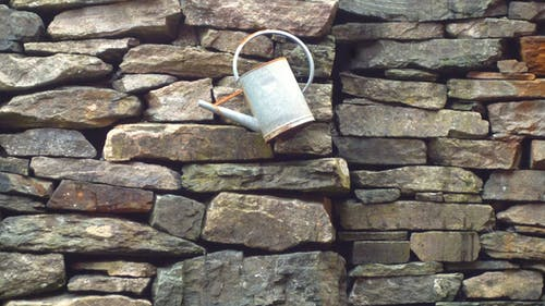 Free stock photo of stone wall, stones, watering can