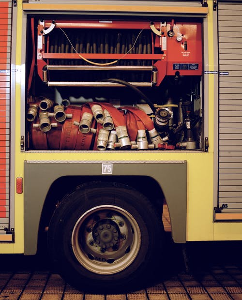 Free stock photo of fire, fire brigade, fire engine, hose