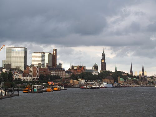Free stock photo of church, hamburg, high rises, port
