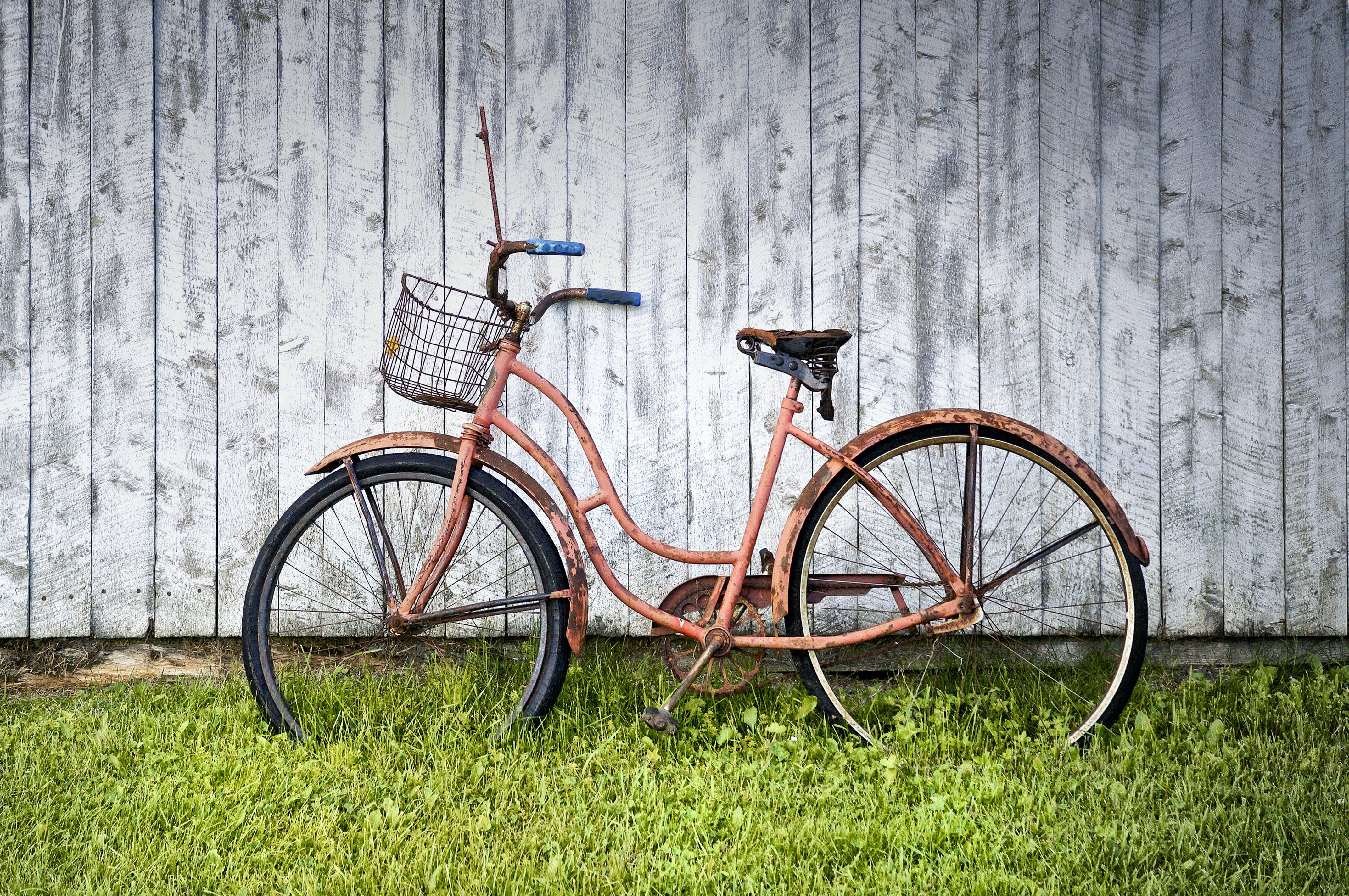 Pink Beach Cruiser Bicycle Near Wall