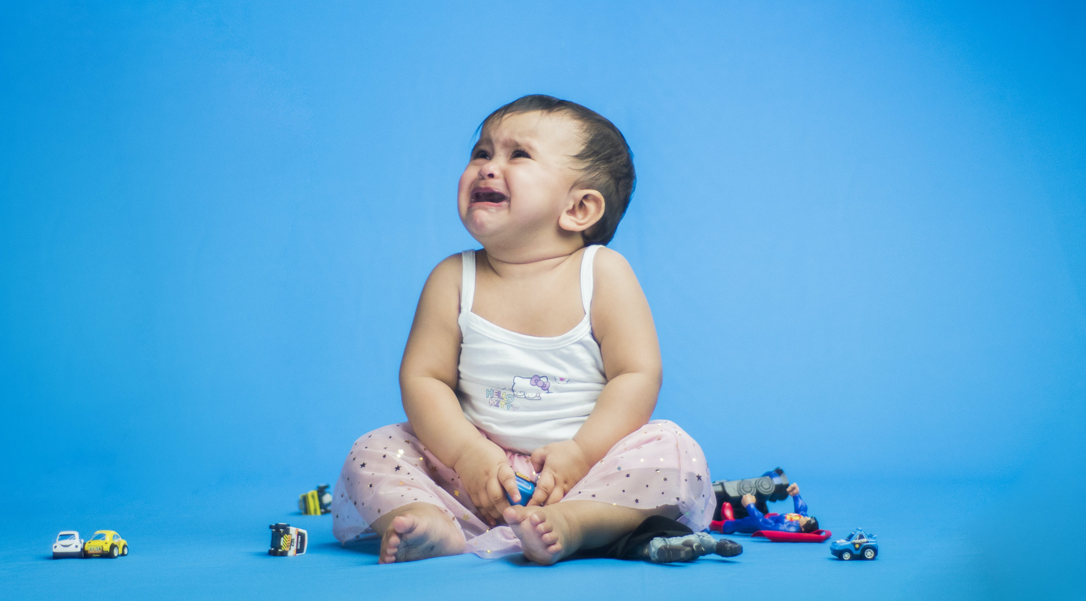 Free stock photo of baby, blue background, crying, cute