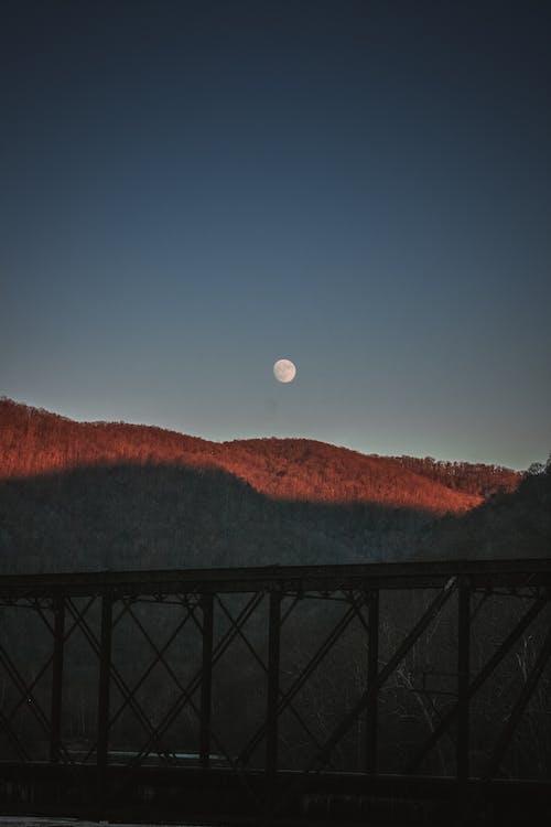 ağaçlar, akşam, ay, dağlar içeren Ücretsiz stok fotoğraf