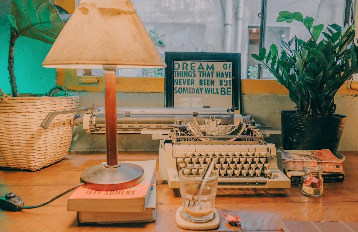 antyczny, lampa, maszyna do pisania