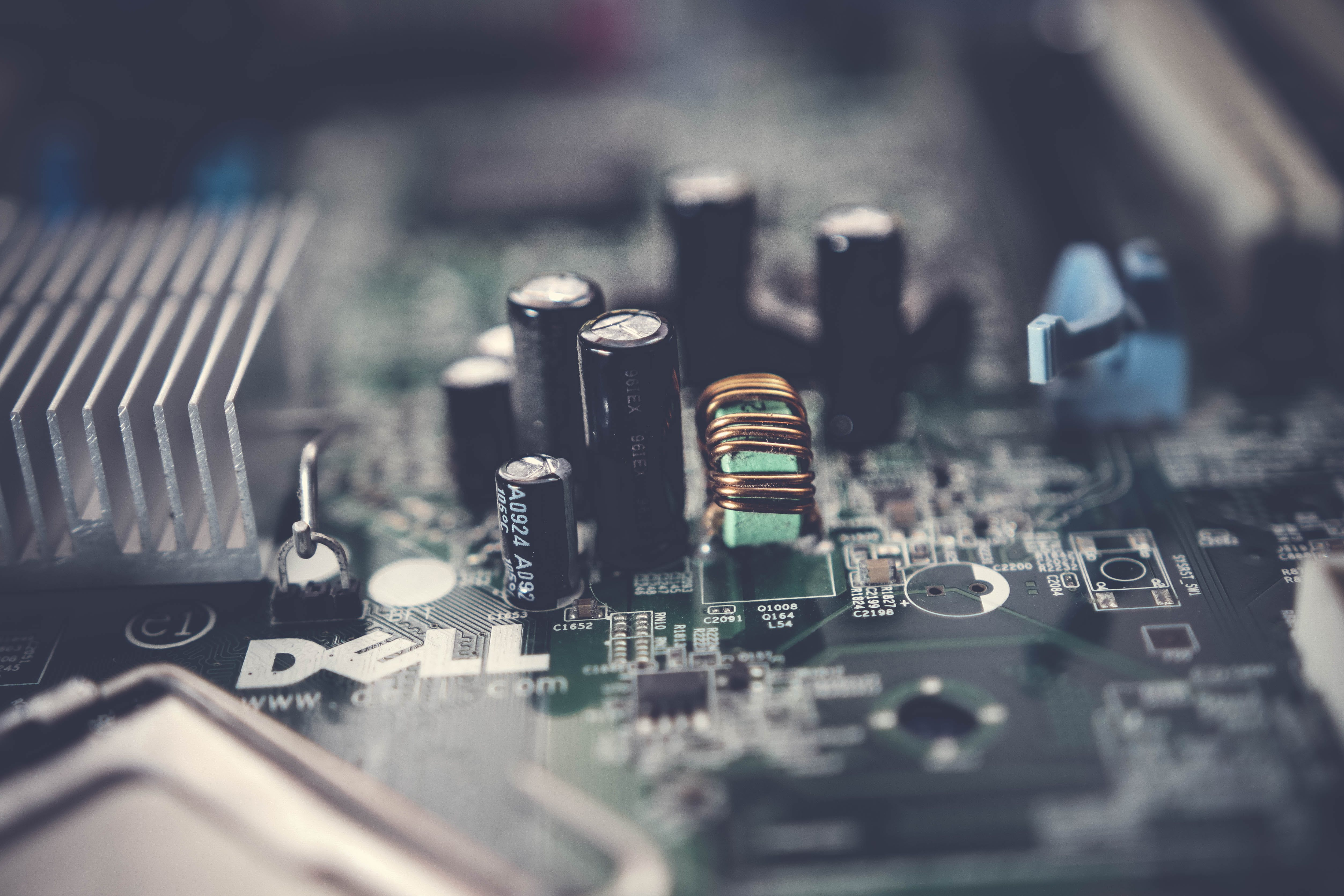 Selective Focus Photo of Dell Motherboard