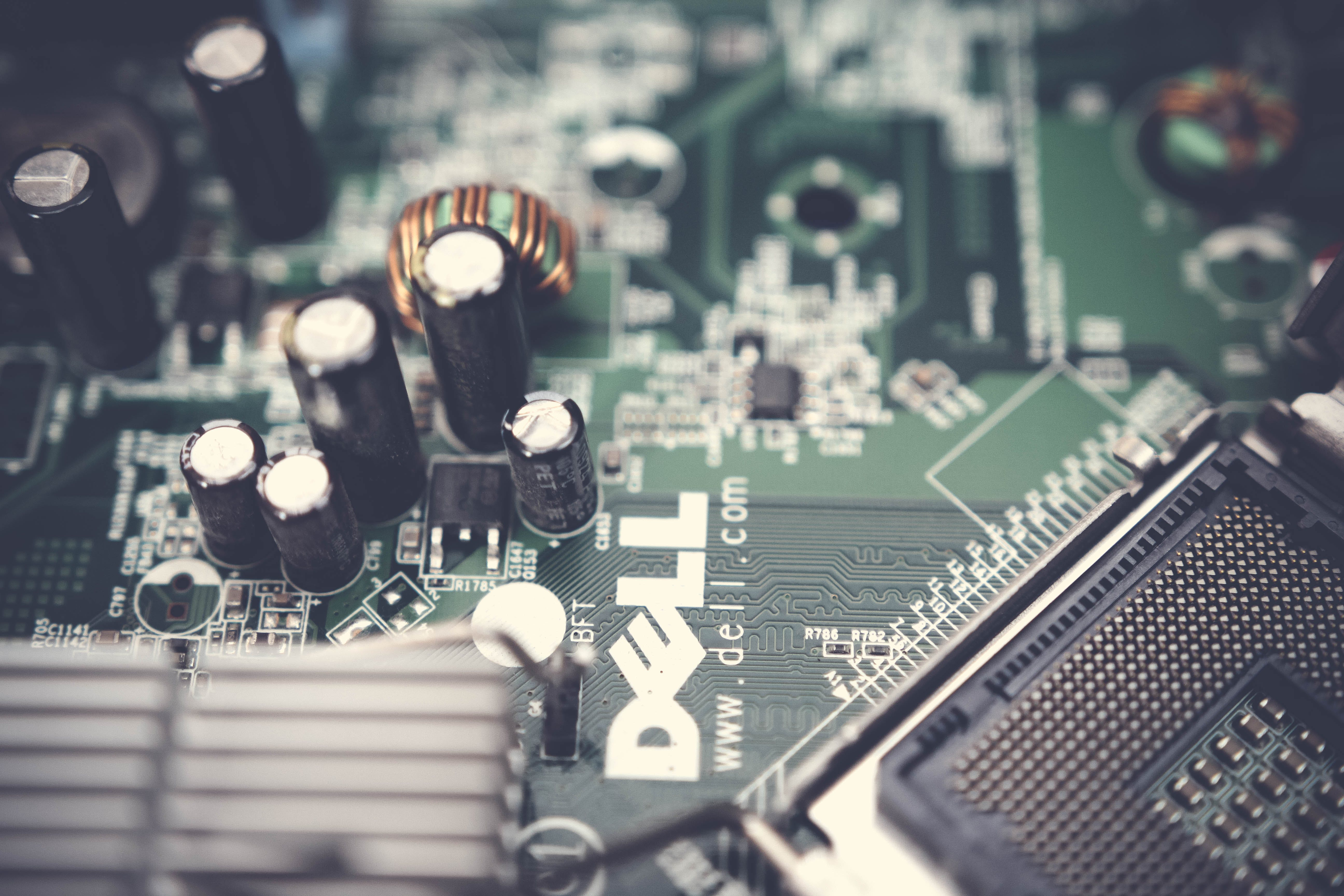 Close-Up Photography of Dell Motherboard