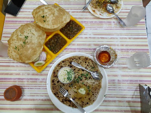 Free stock photo of chhole bhature, Delhi Meal, Paratha