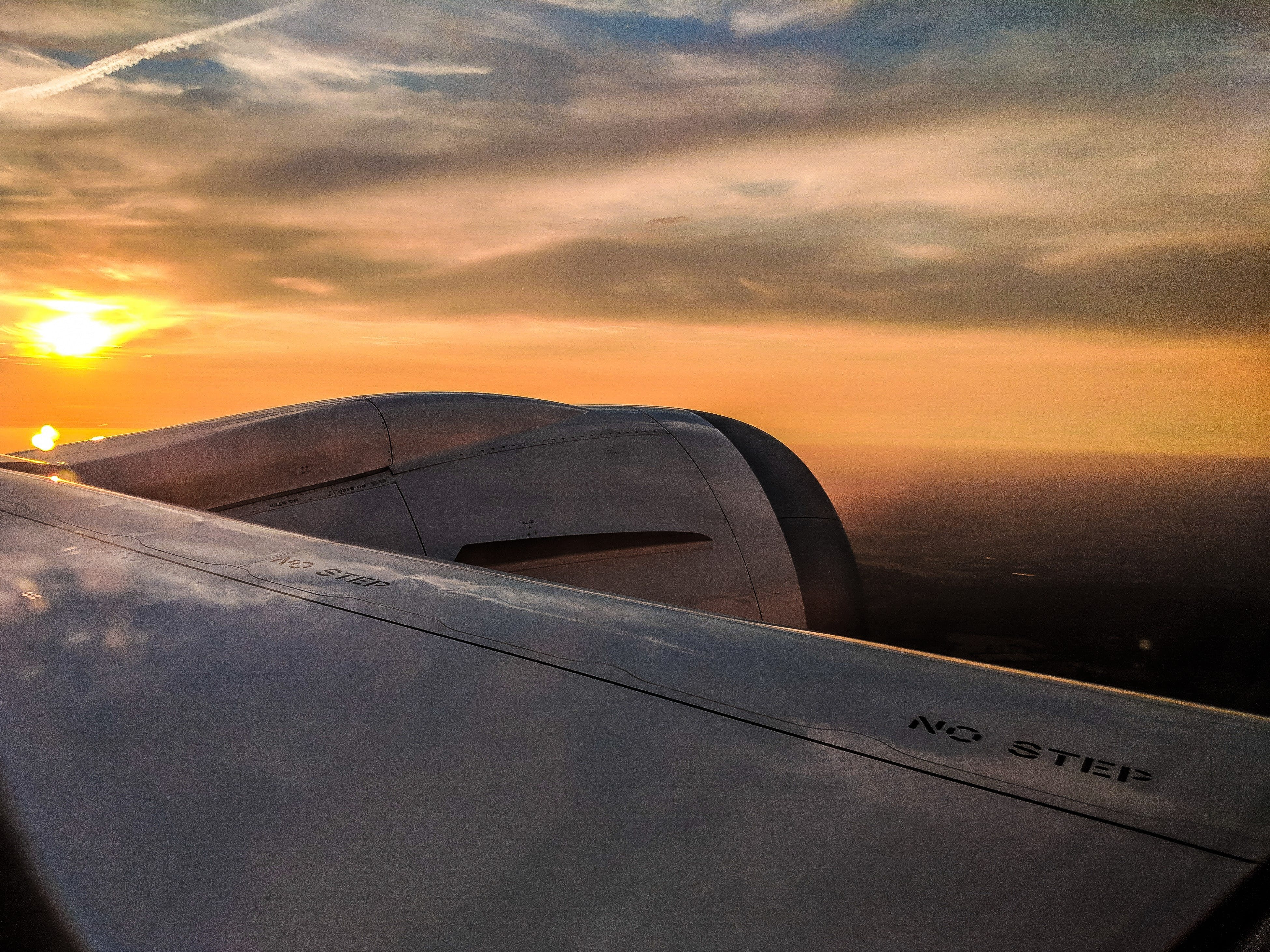 Free stock photo of aircraft wings, airplane, evening sky, golden sunset