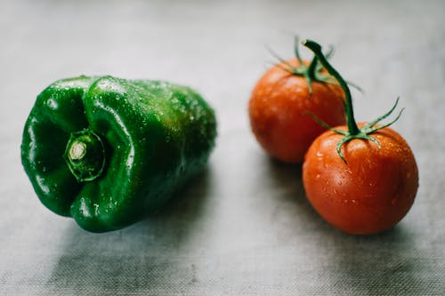 Green Bell Pepper And Tomatoes