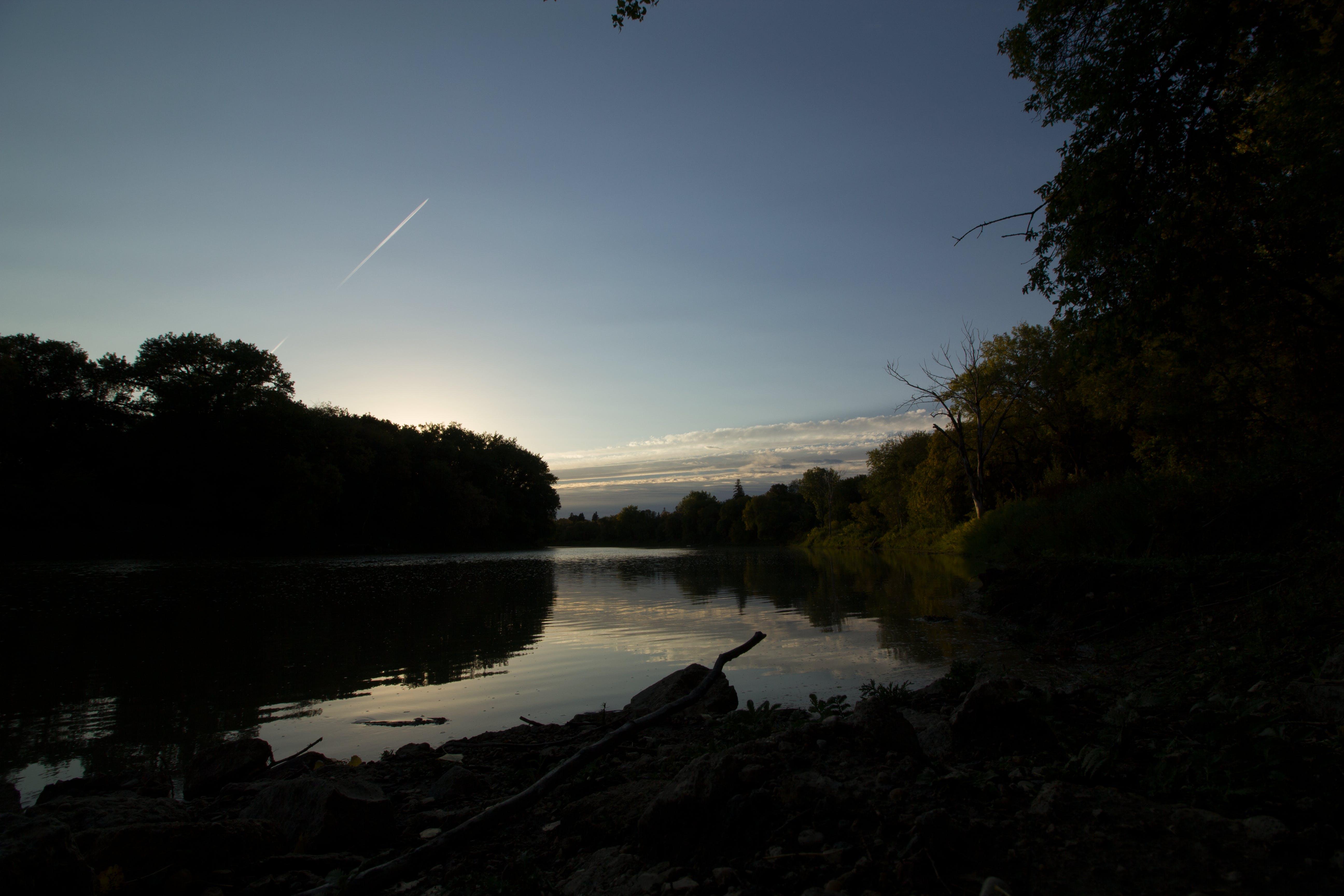 Free stock photo of sunset, forest, lake, evening