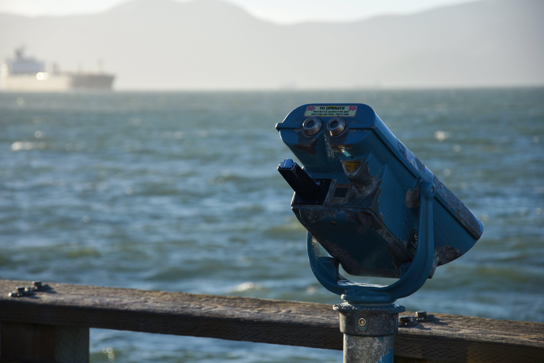 Kostenloses Stock Foto zu fernglas, fishermans wharf, hafen, ozean