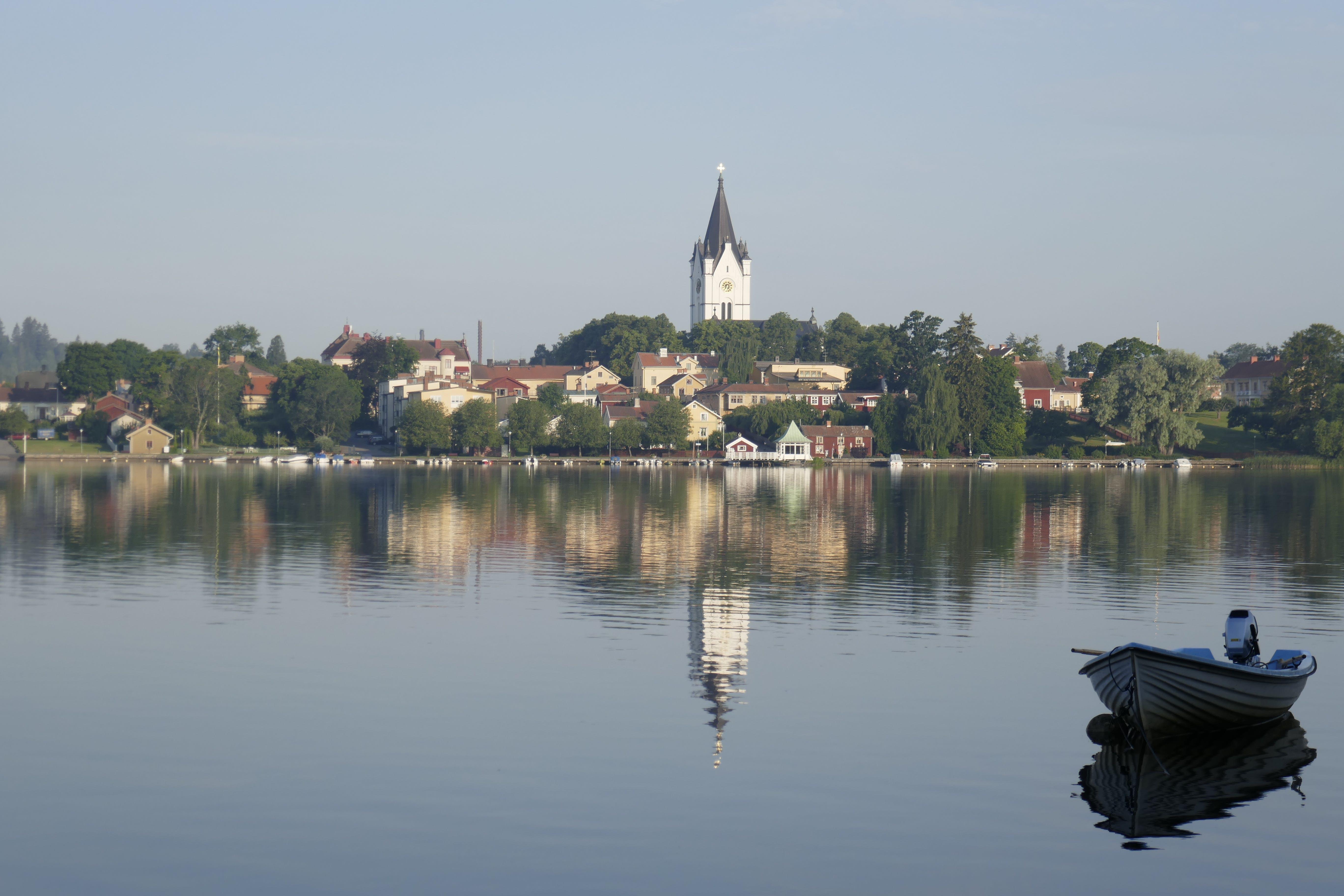 Kostenloses Stock Foto zu boot, kirchturm, schweden
